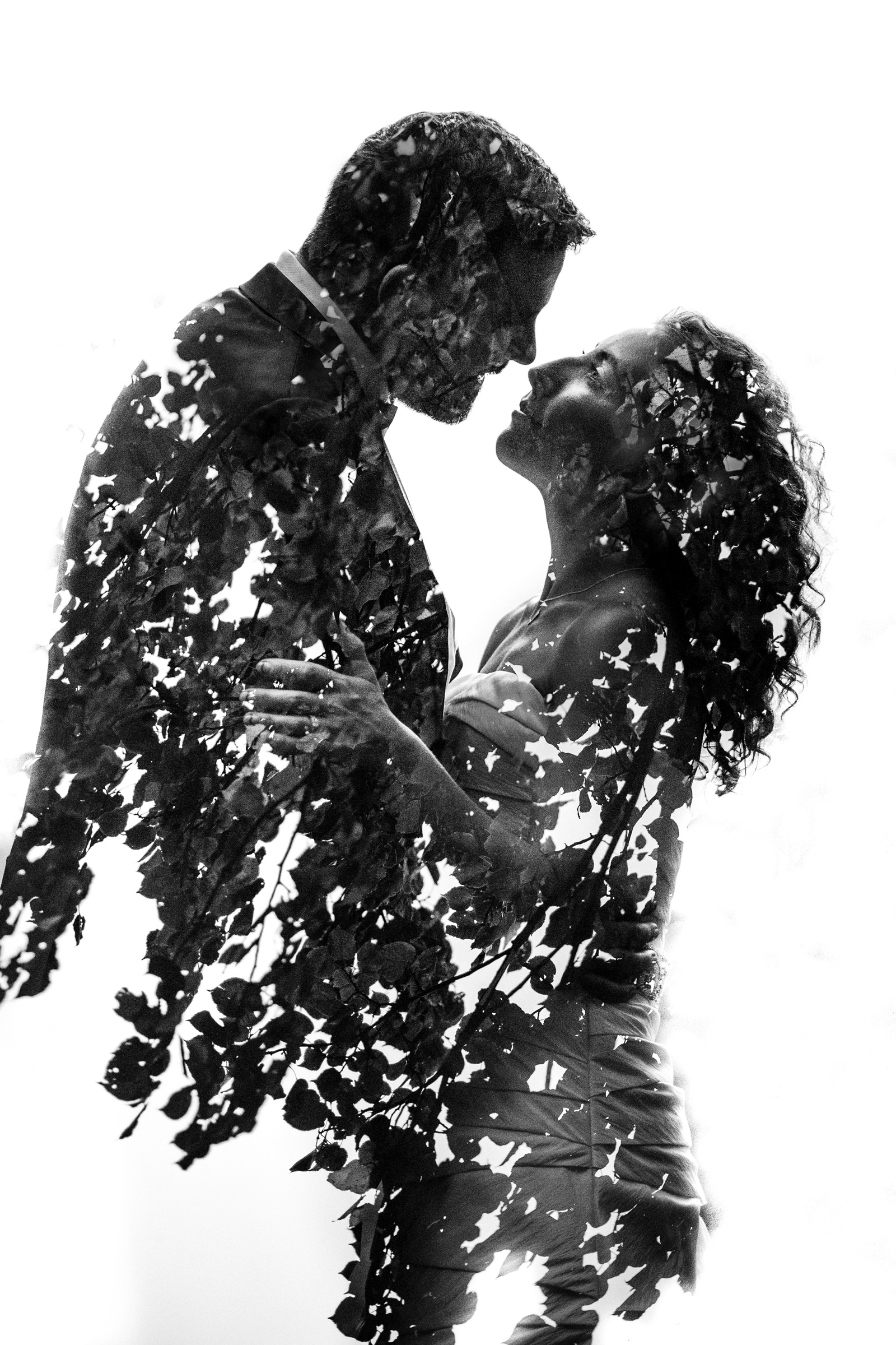 Creative double exposure bride and groom portrait - Photo by Susan Stripling Photography