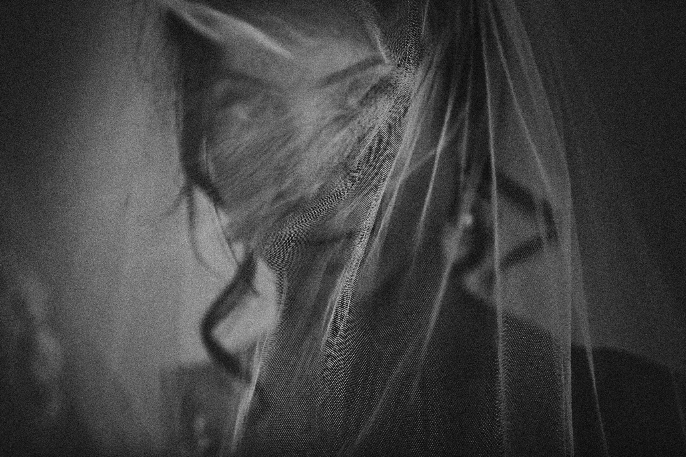 Moody photo of bride under veil, by Franck Boutonnet