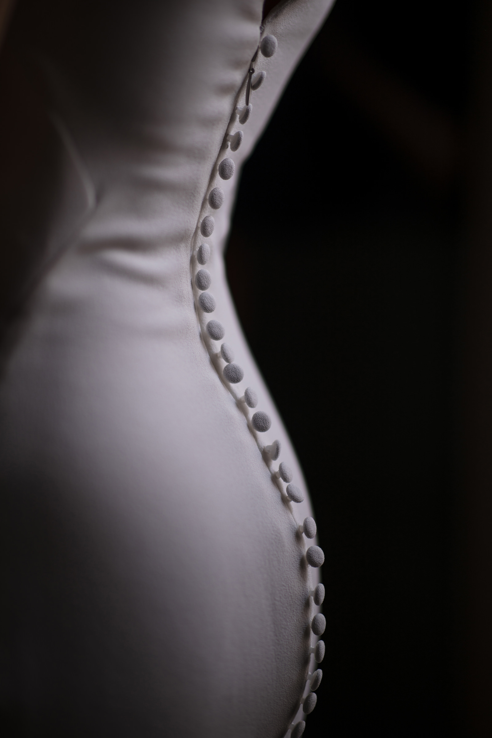 Sexy intricate buttons shot of back of wedding gown, by Susan Stripling
