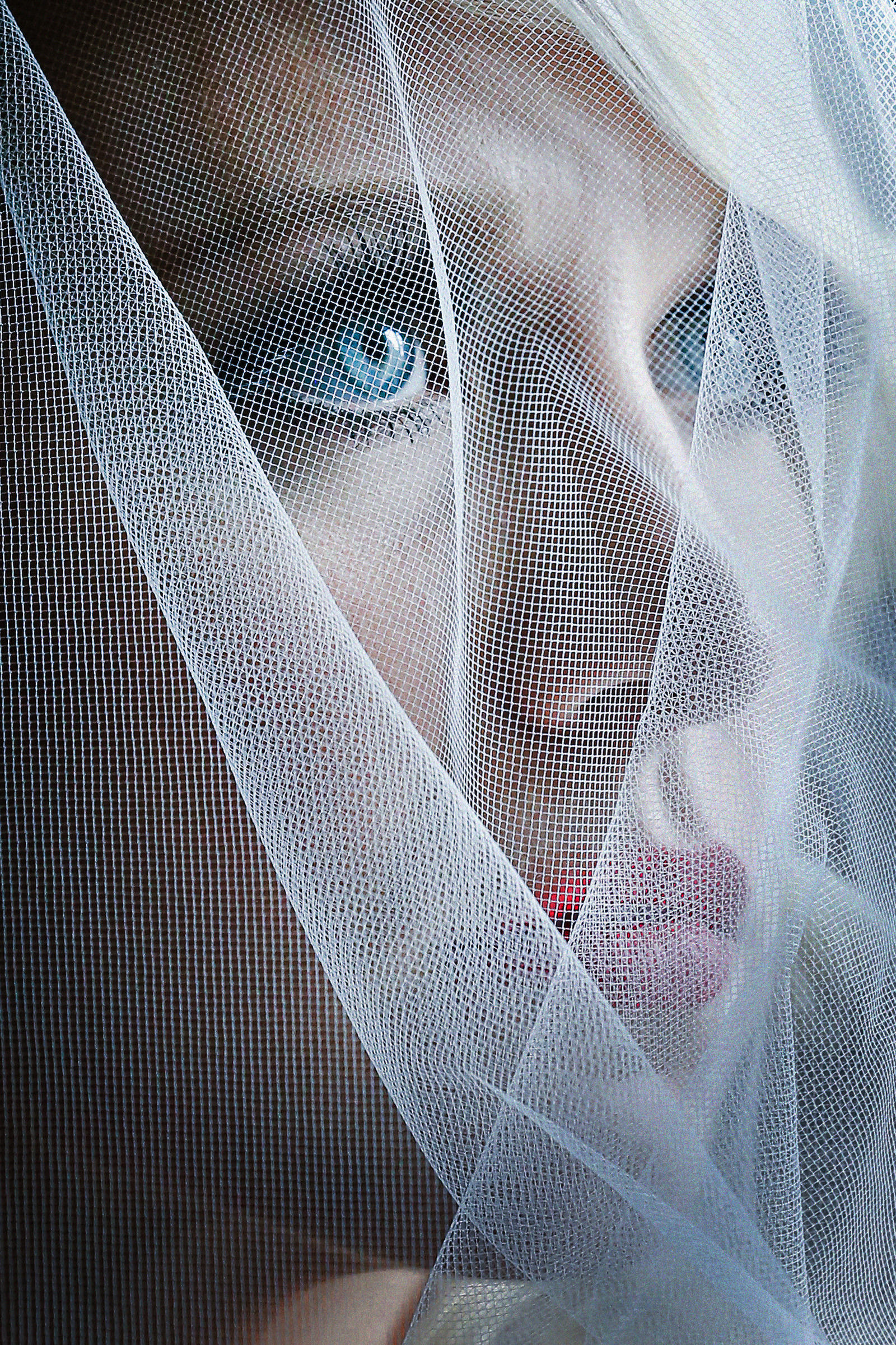 Portrait of bride with startling blue eyes under veil, by Franck Boutonnet