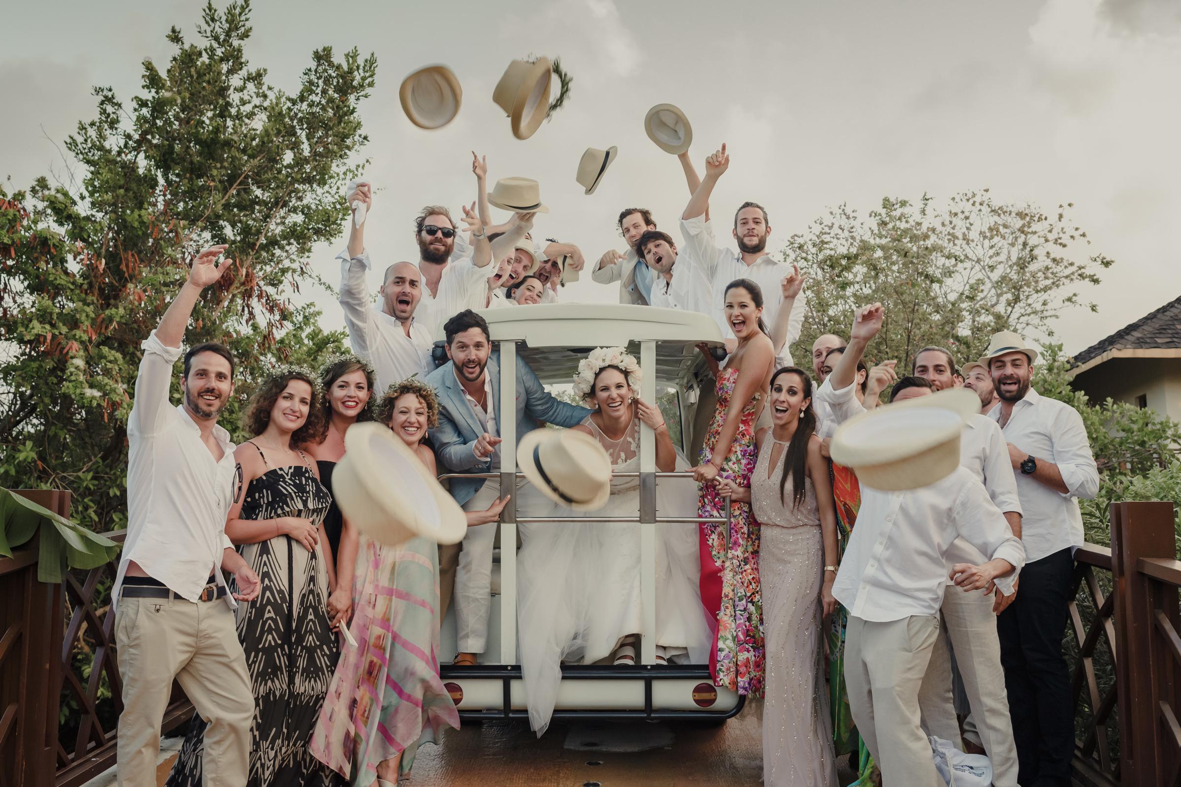 Wedding Party cheering. Photo by El Marco Rojo