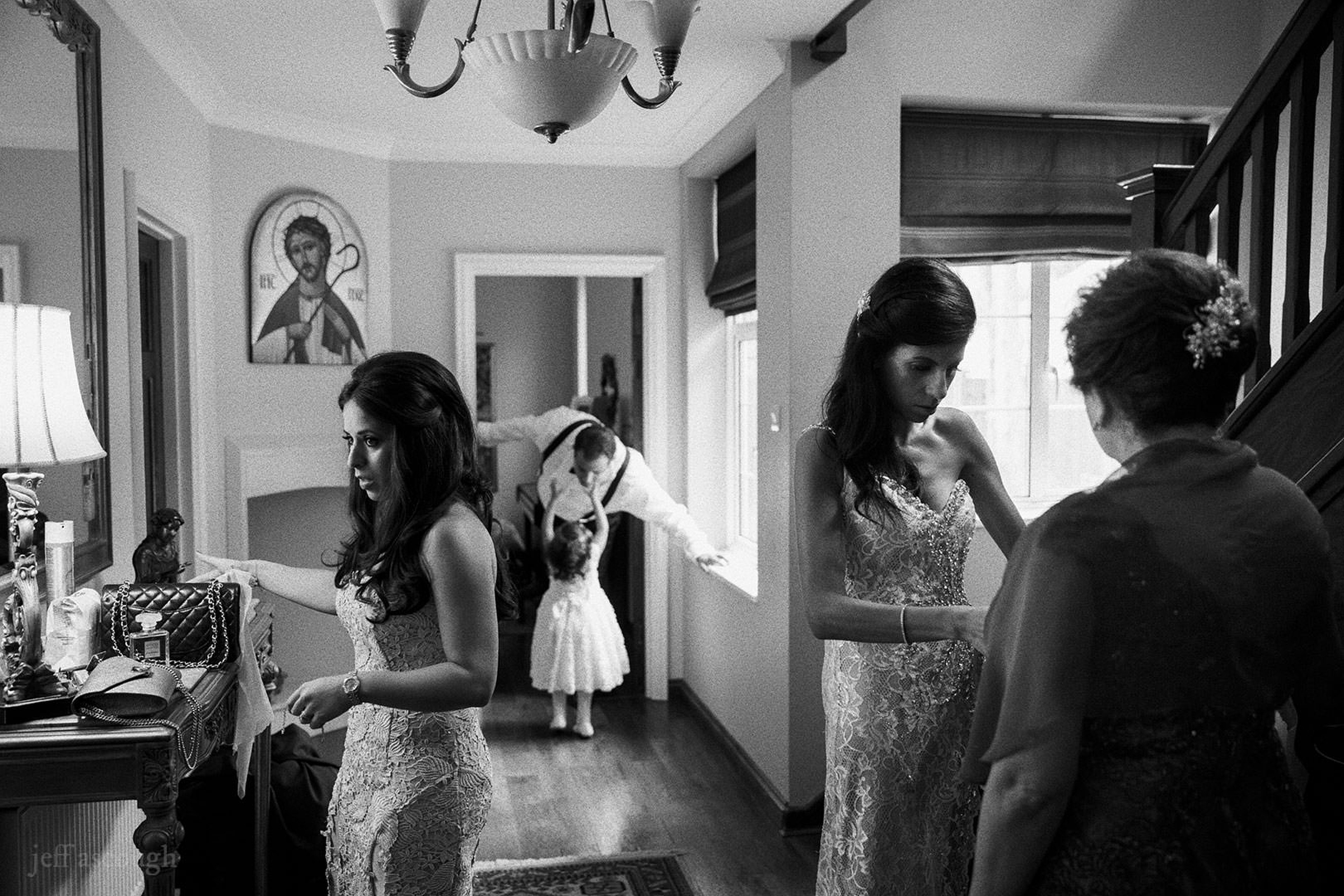 Bridal party getting ready by Jeff Ascough