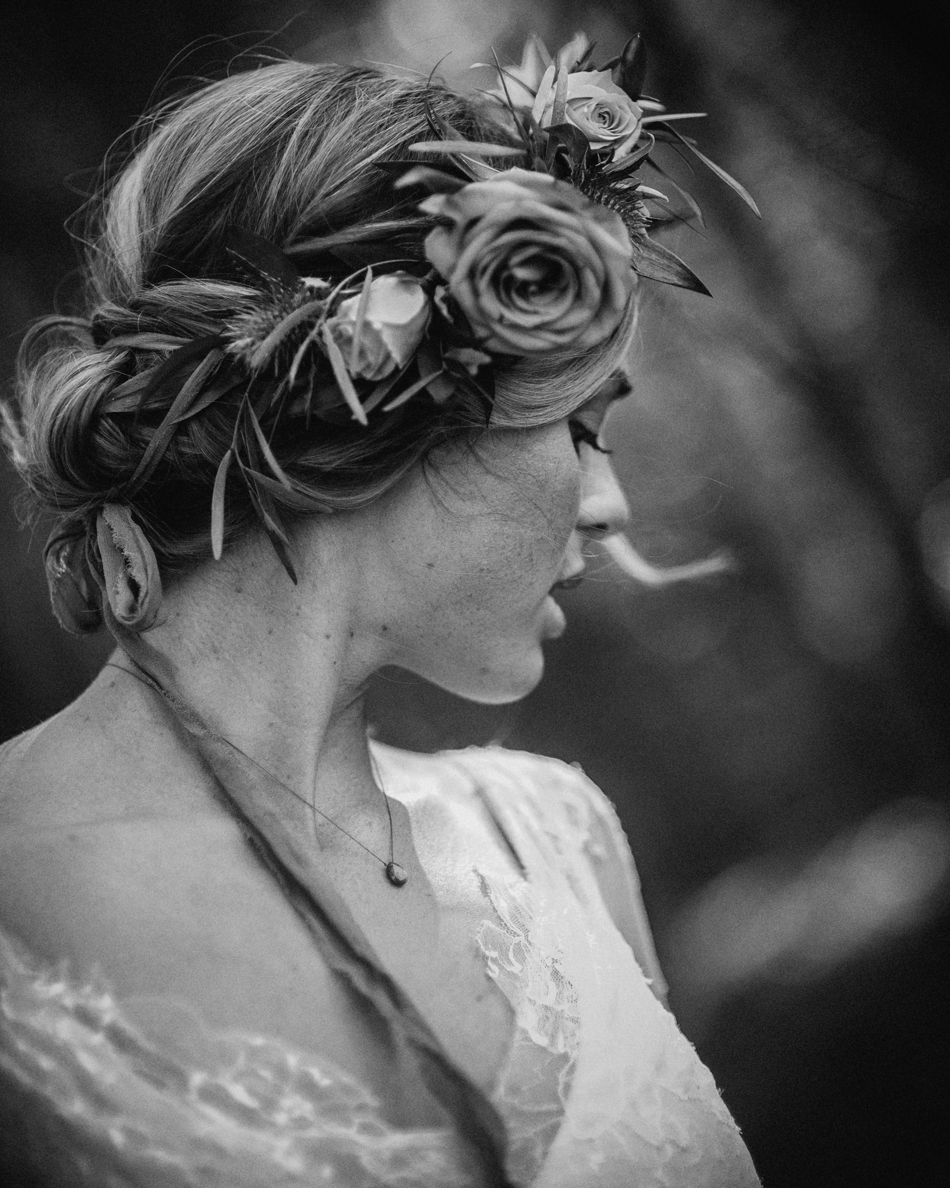 Bride with floral crown by Richard Israel Photography