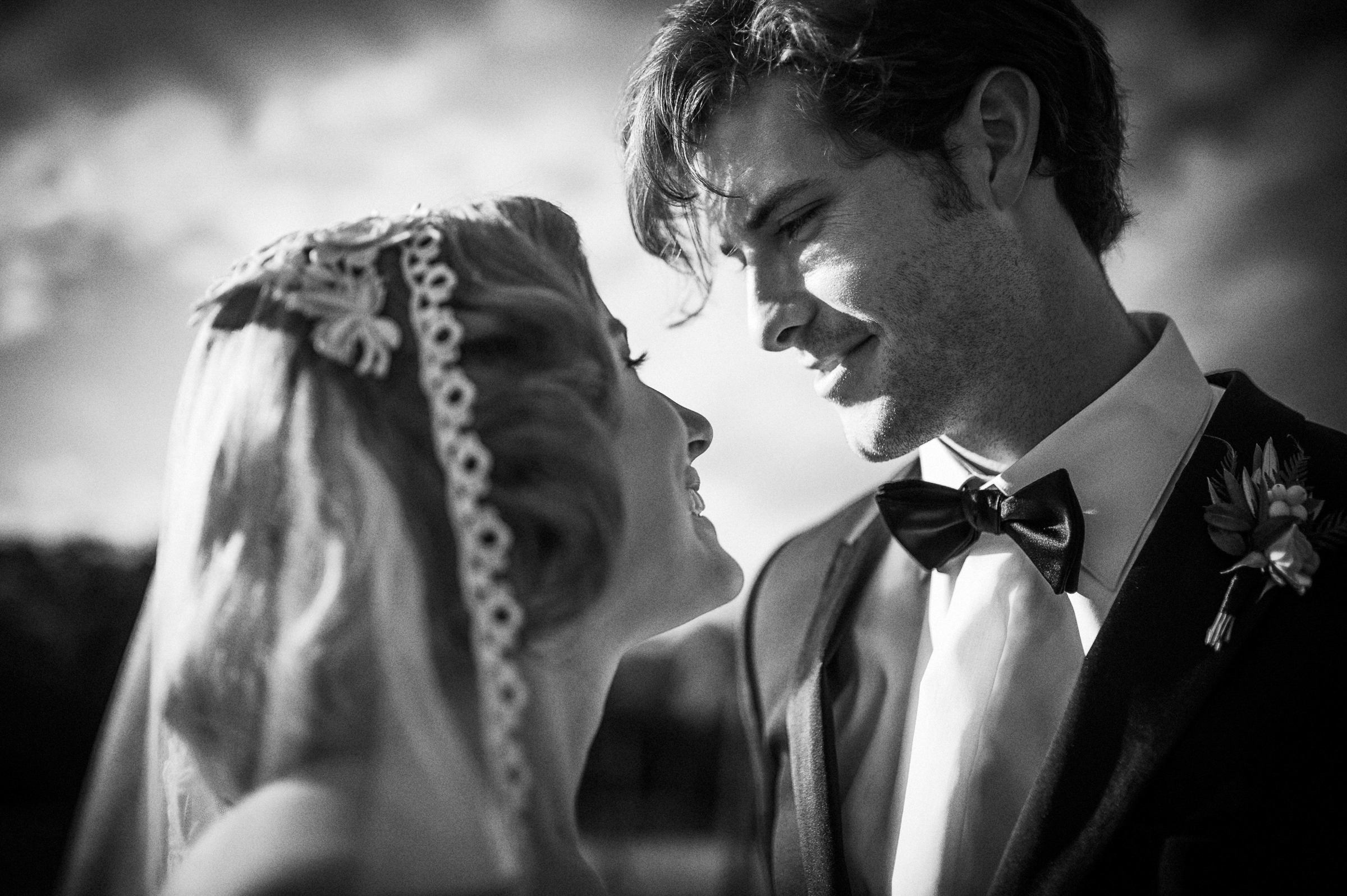 Cinematic portrait of bride and groom by Richard Israel Photography