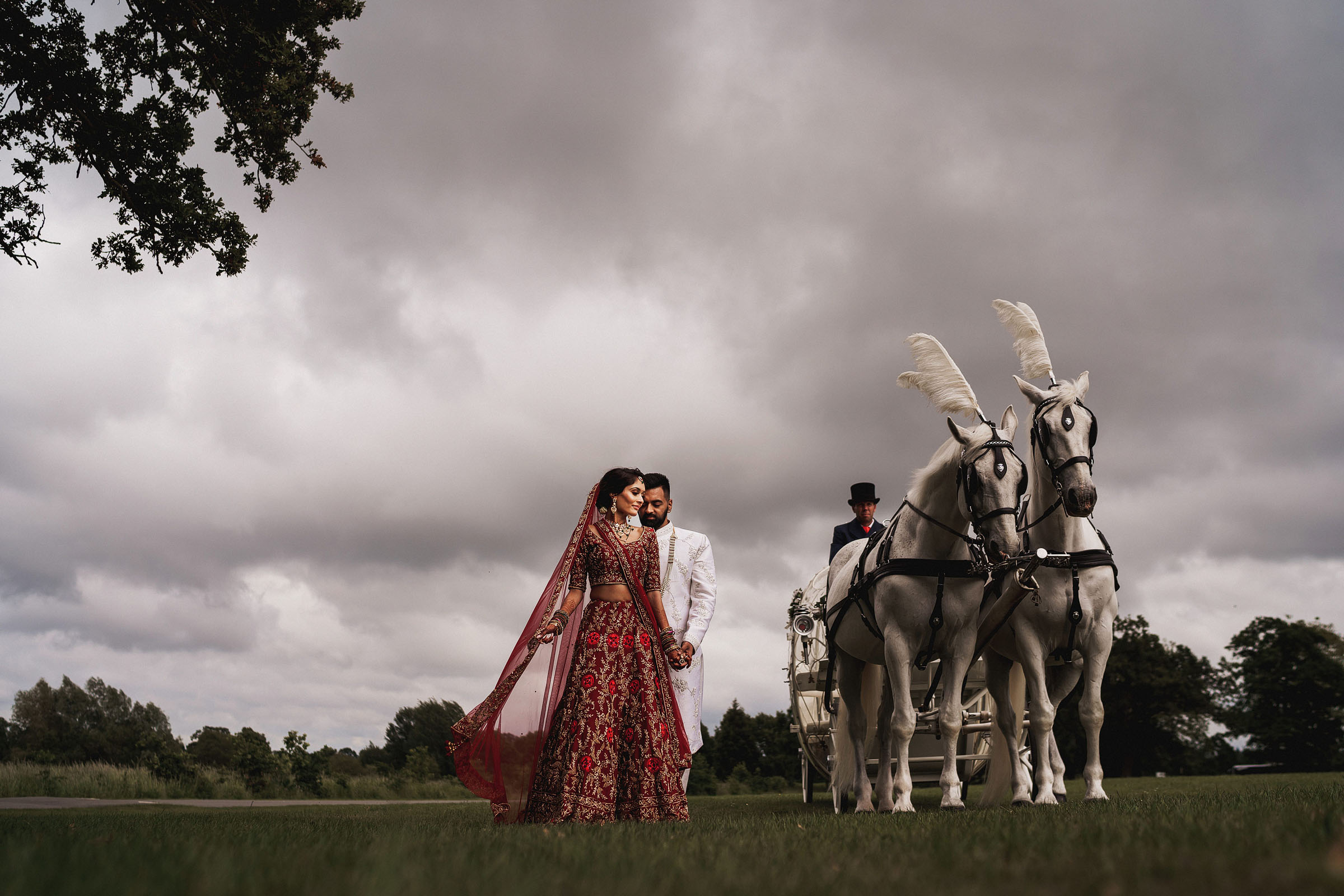 Couple with plumed horses and carriage - Photo by F5 Photography