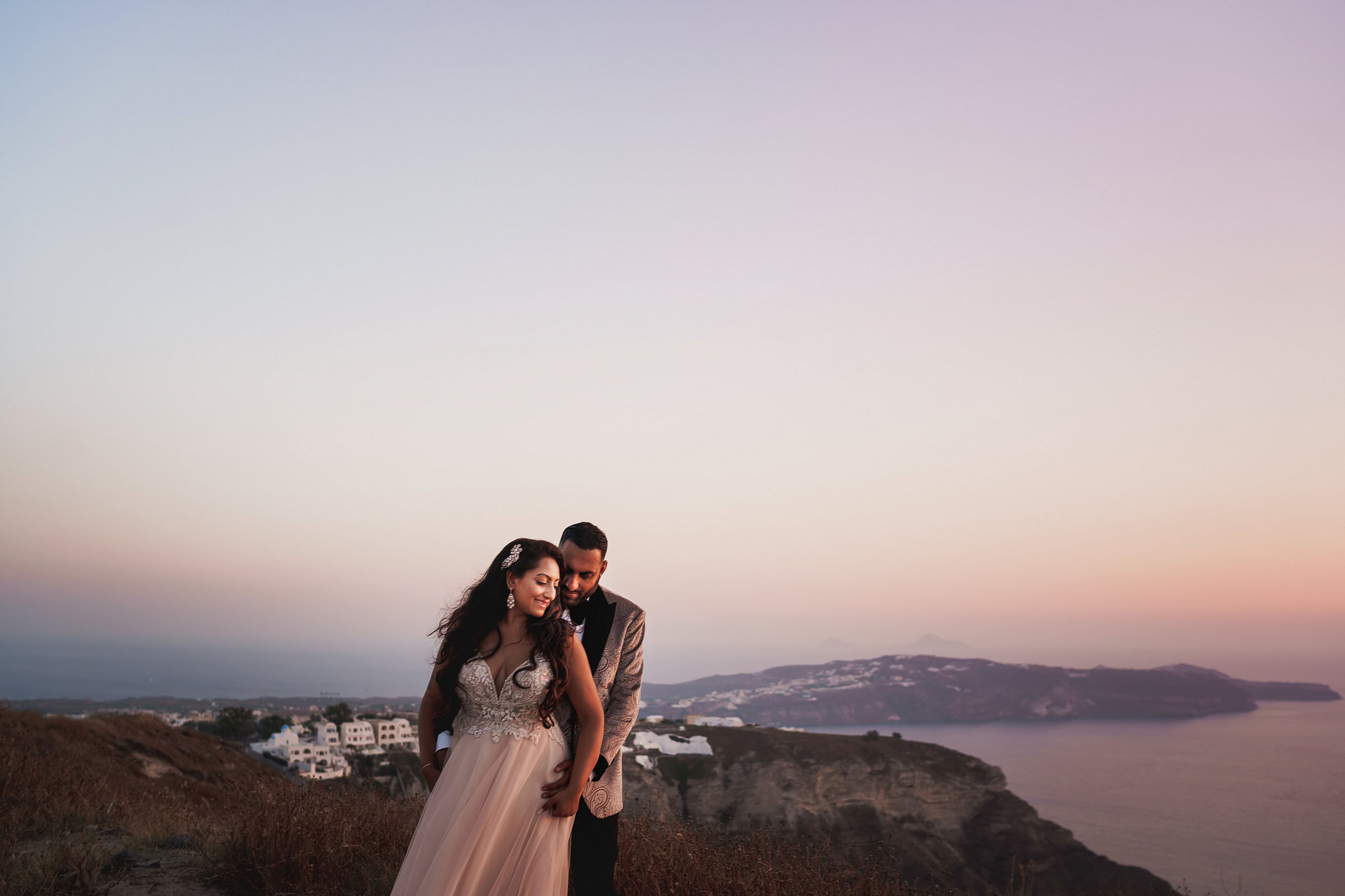 Landscape portrait with bride and groom -photo by F5 Photography