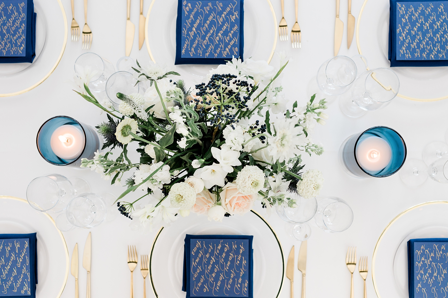Top down view of place settings - photo by Jurgita Lukos Photography