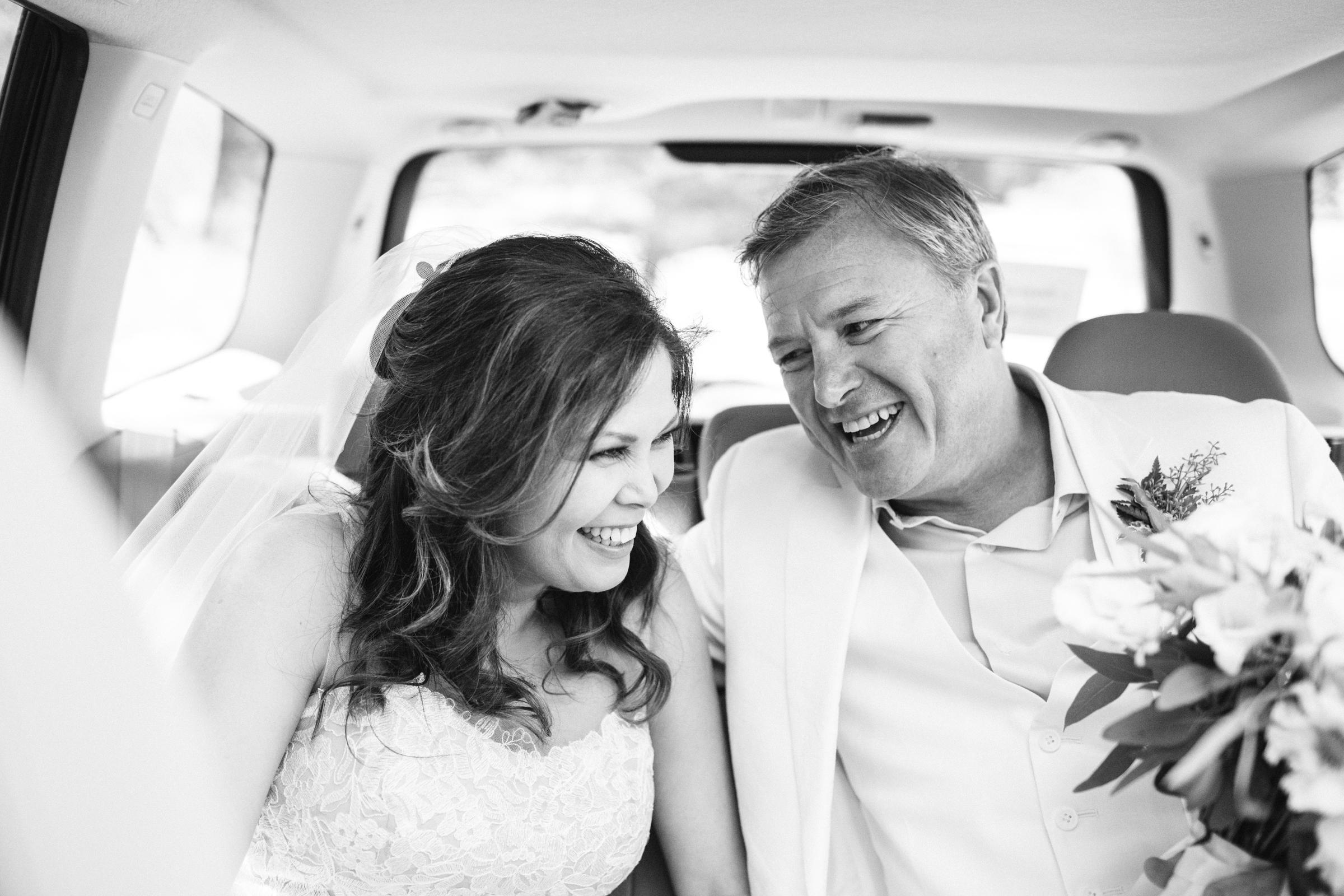 Couple in limo - photo by Satya Curcio Photography