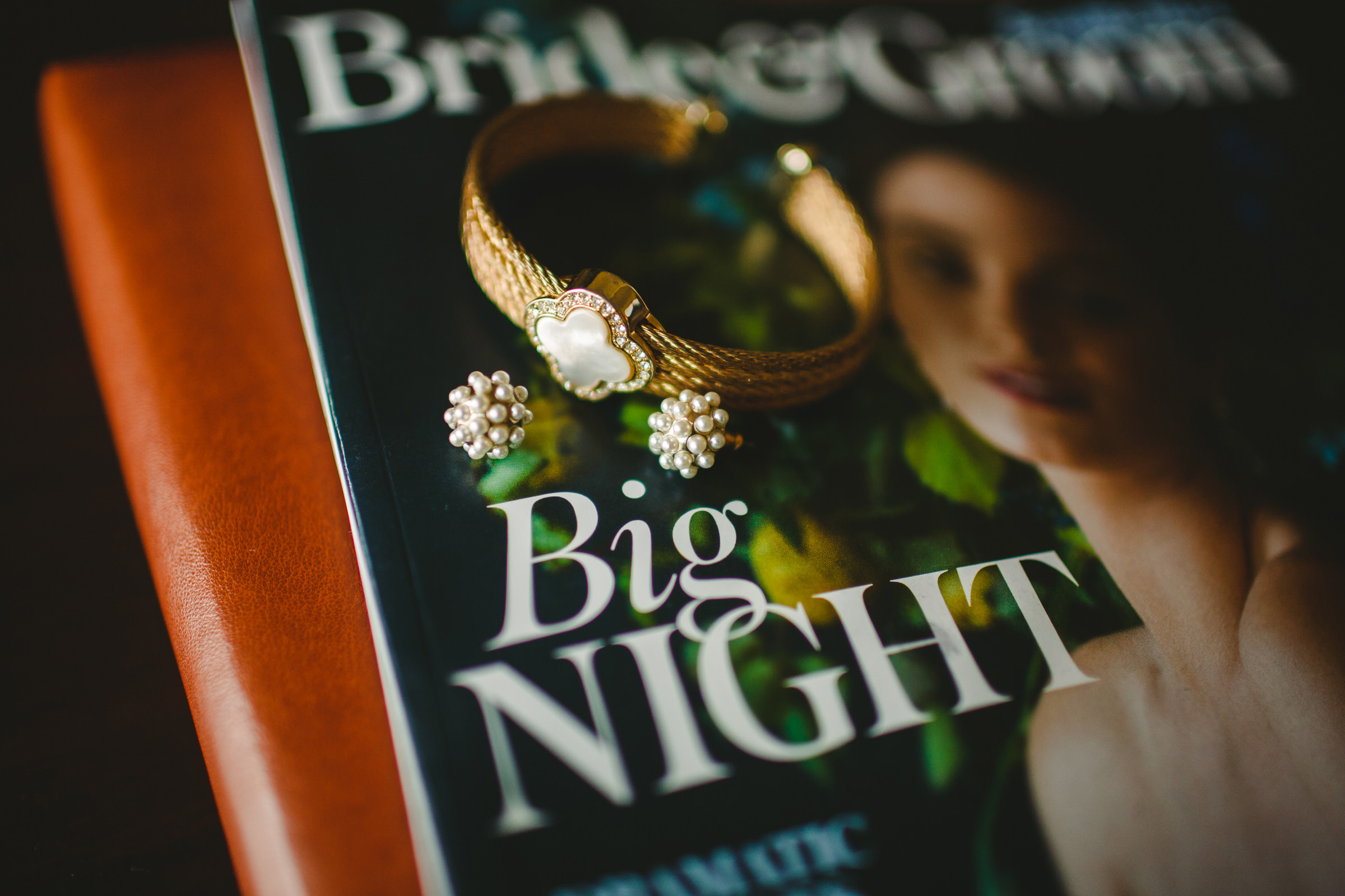Detail of bracelet and earrings against Big Night book - photo by Satya Curcio Photography