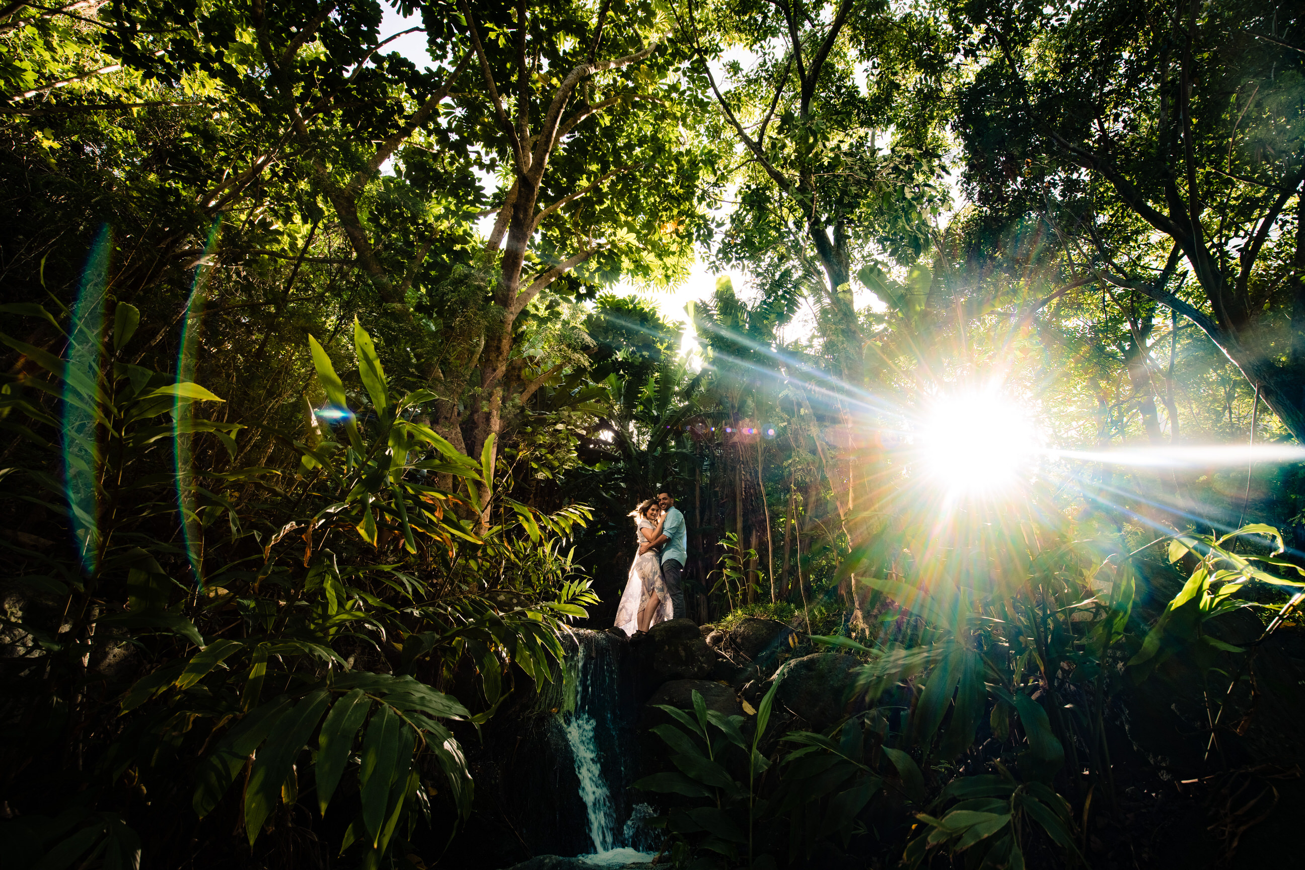engagement photo in tropical forest - photo by Angela Nelson Photography
