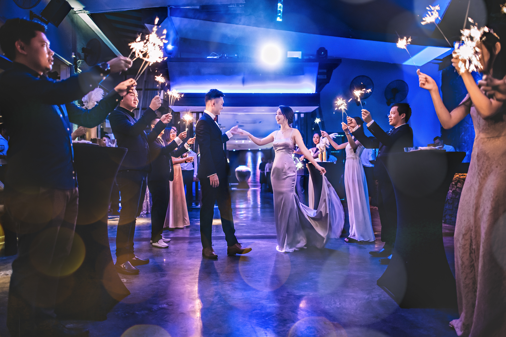 First dance lit by sparklers - photo by Edwin Tan Photography