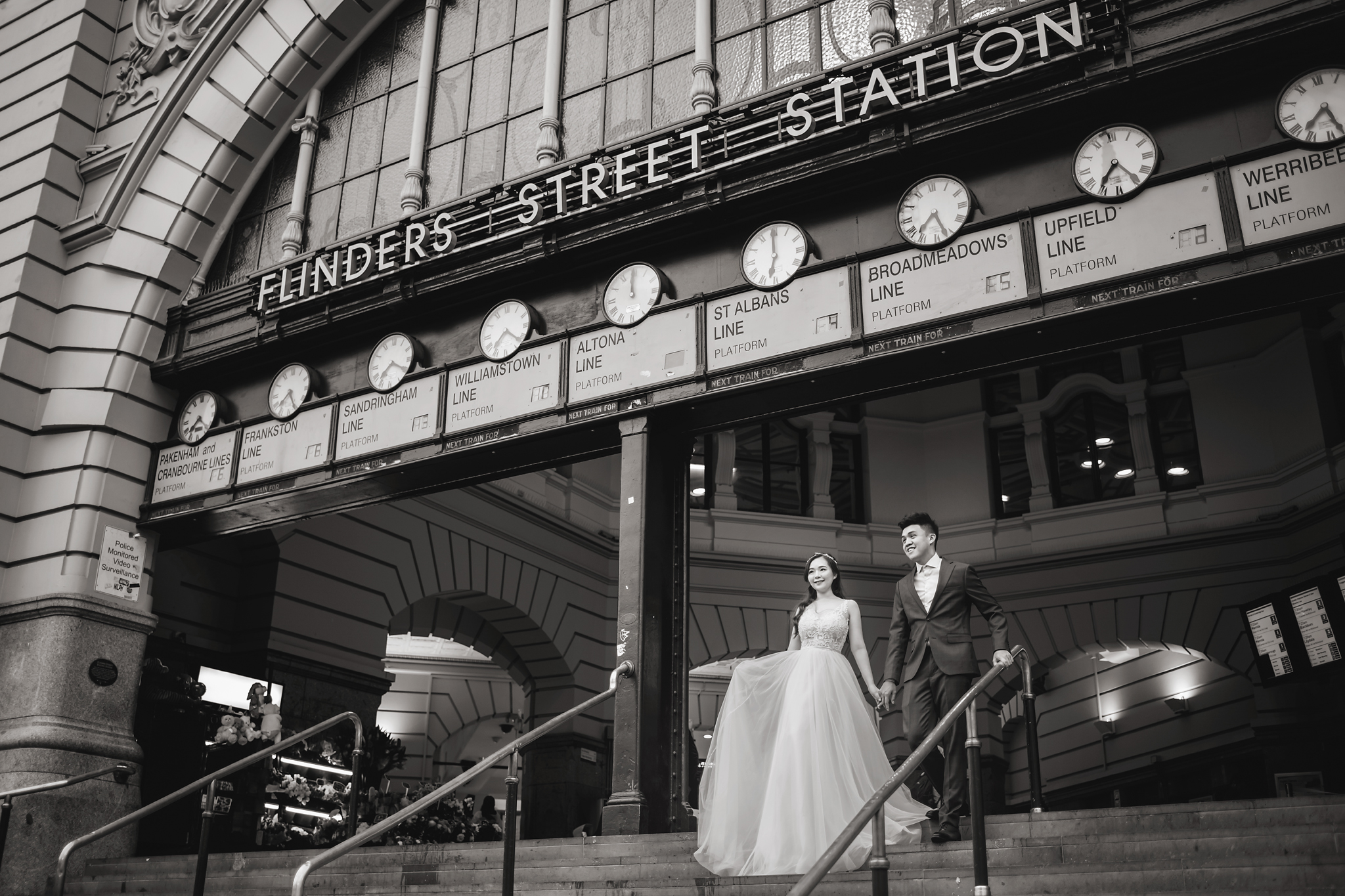 Flinders Street Station couple portrait - photo by Edwin Tan Photography