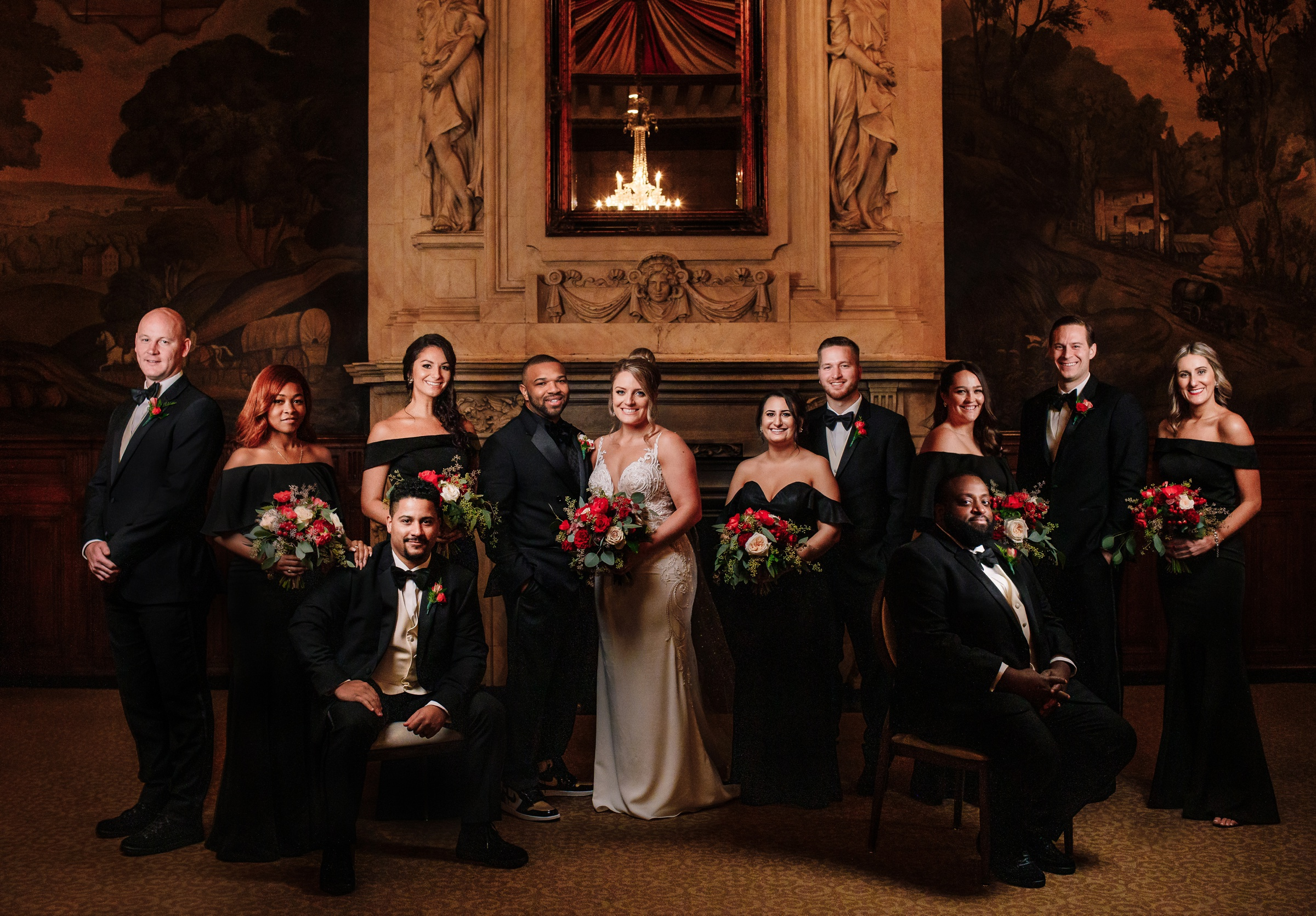 Wedding party in black and red - photo by Photography by Brea