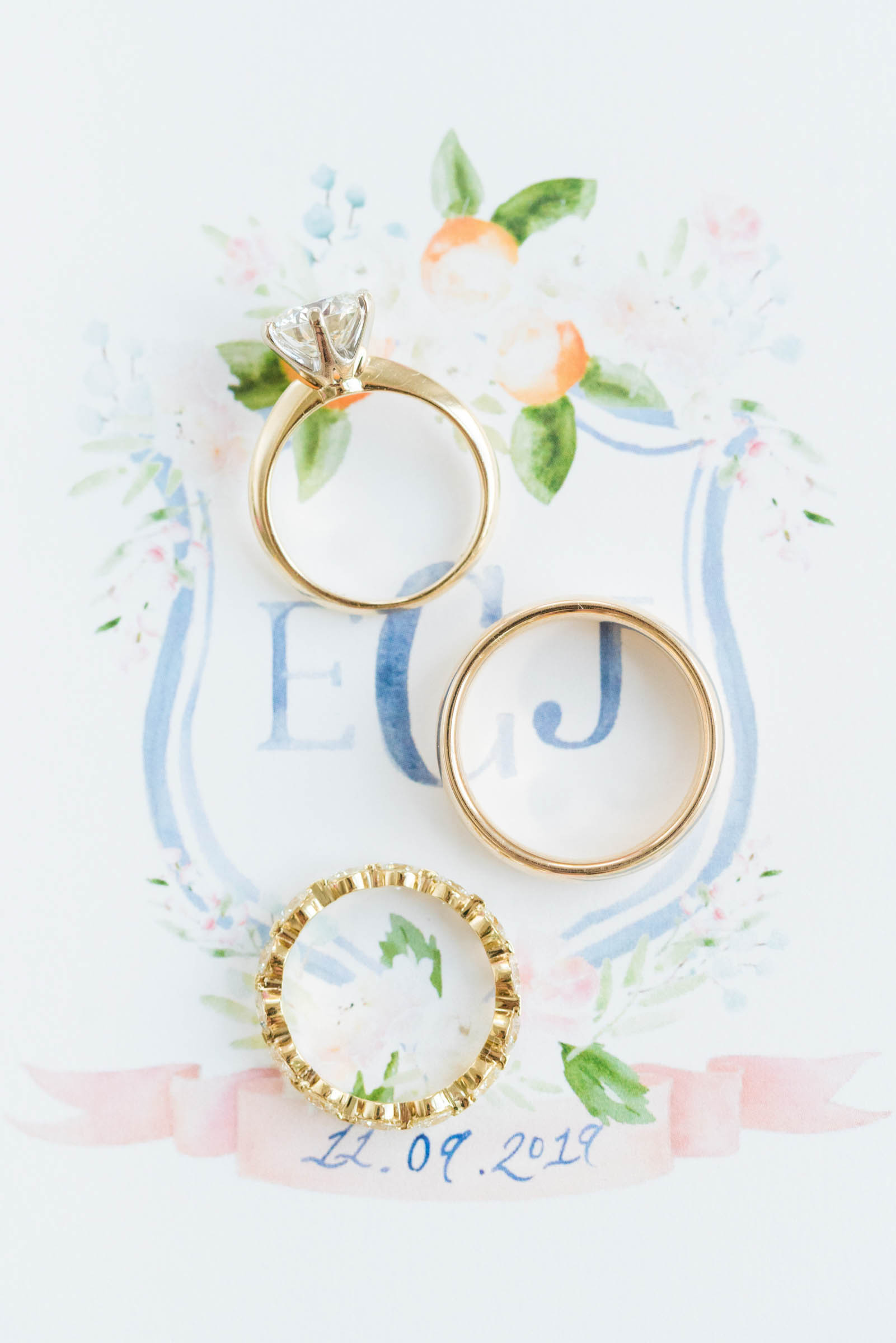 flatlay detail of rings on stationery - photo by Dana Cubbage Weddings