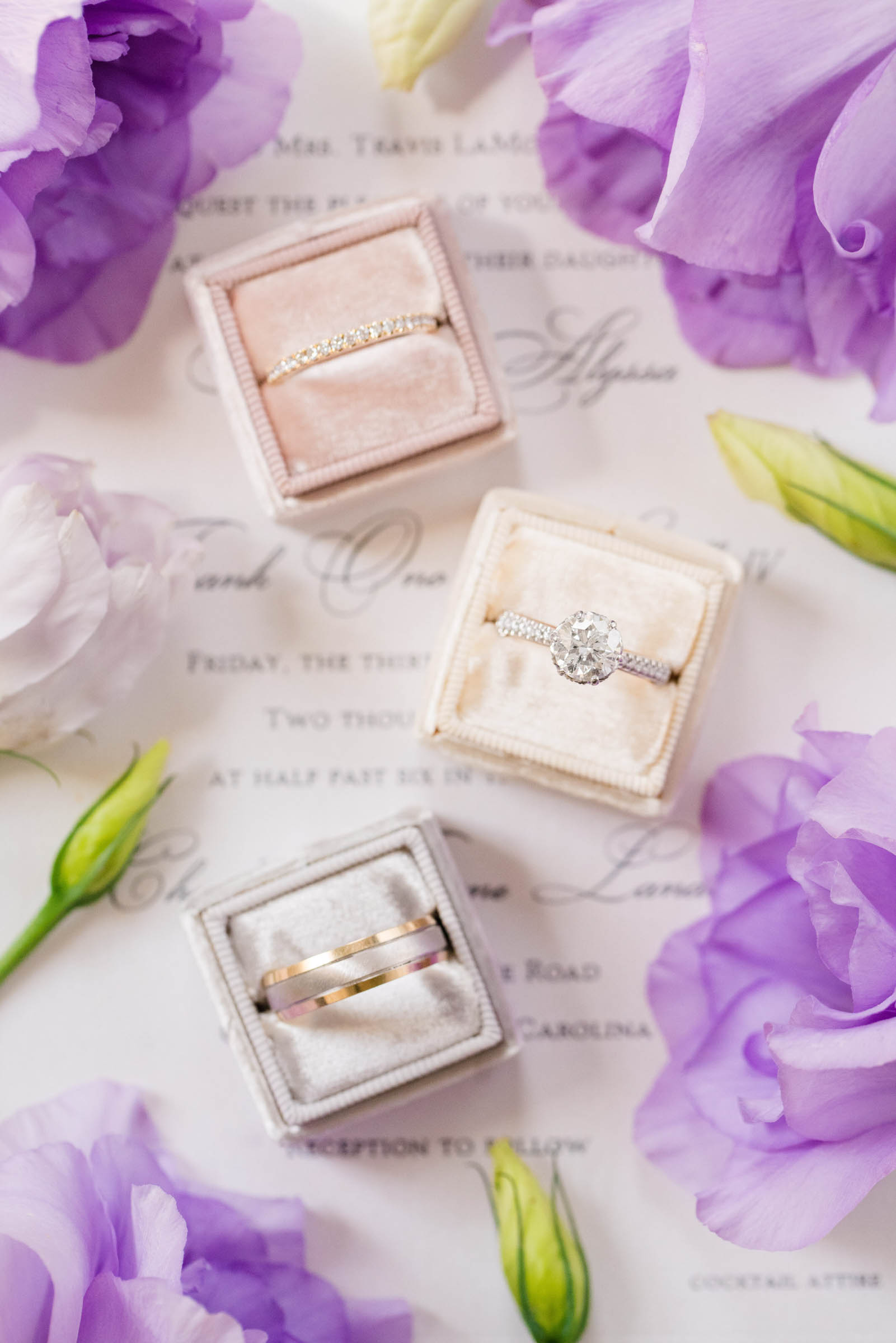 Flatlay with boxed rings - photo by Dana Cubbage Weddings