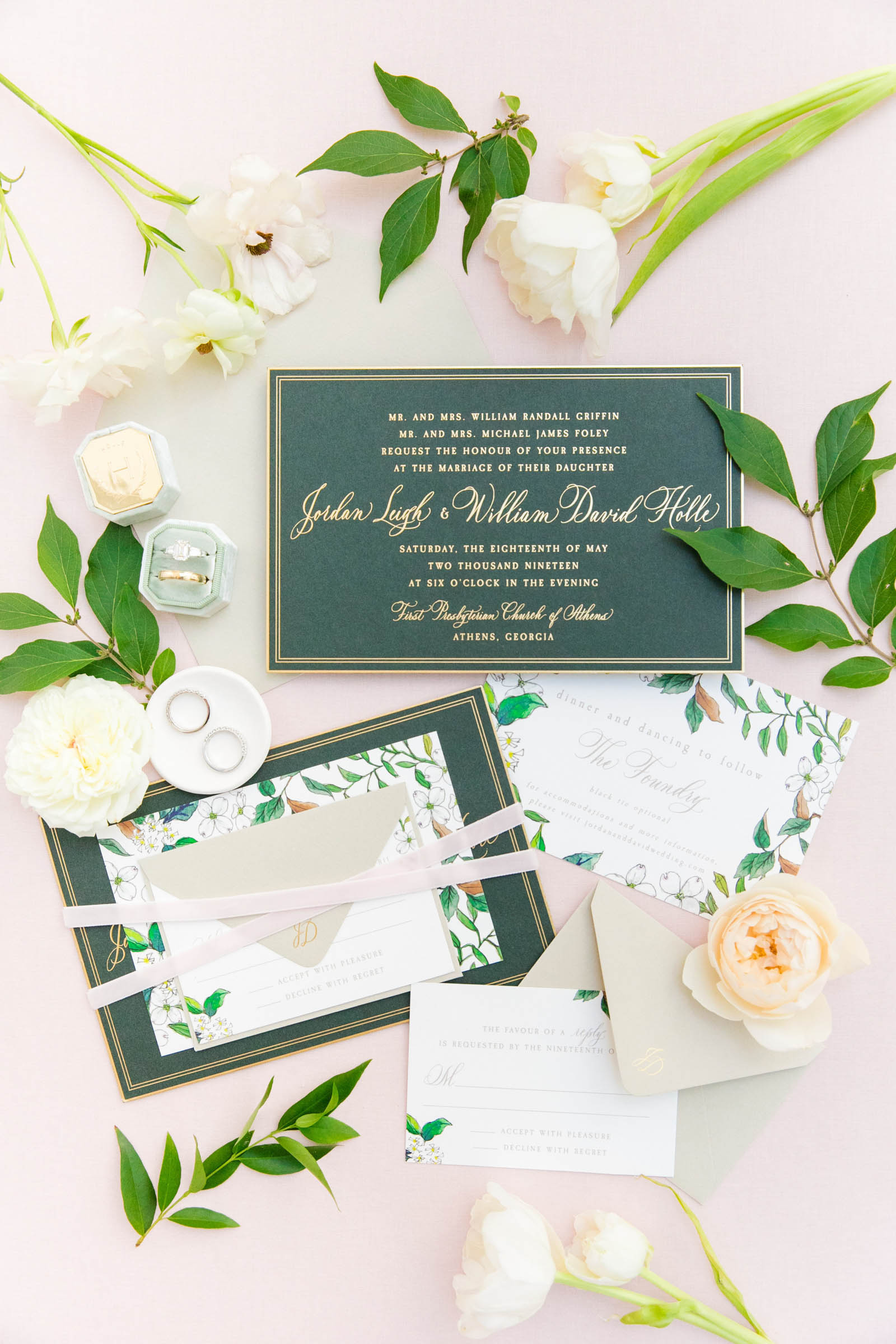 Stationery flat lay - photo by Dana Cubbage Weddings
