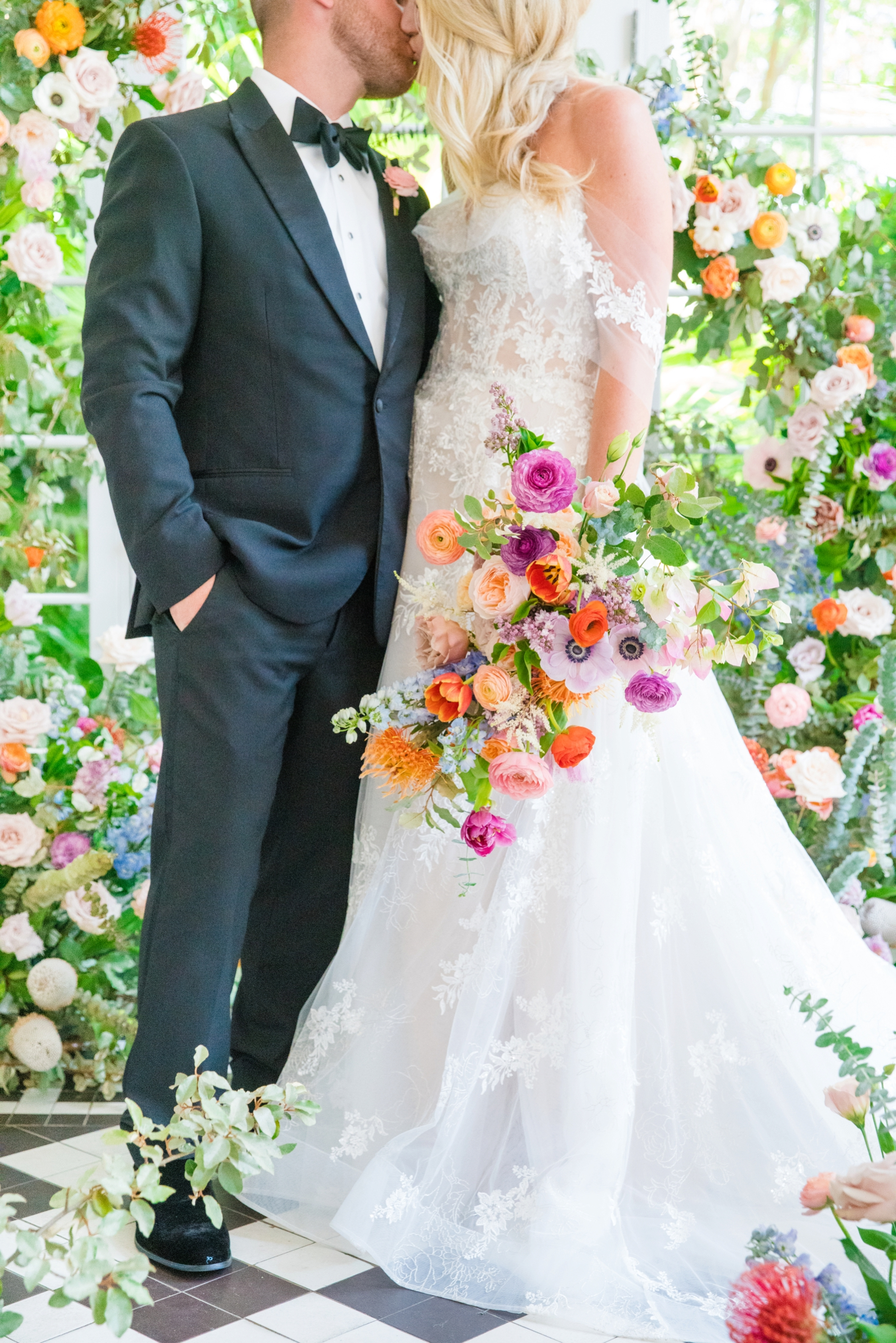 Bride and groom styled shoot with spring flowers - photo by Dana Cubbage Weddings