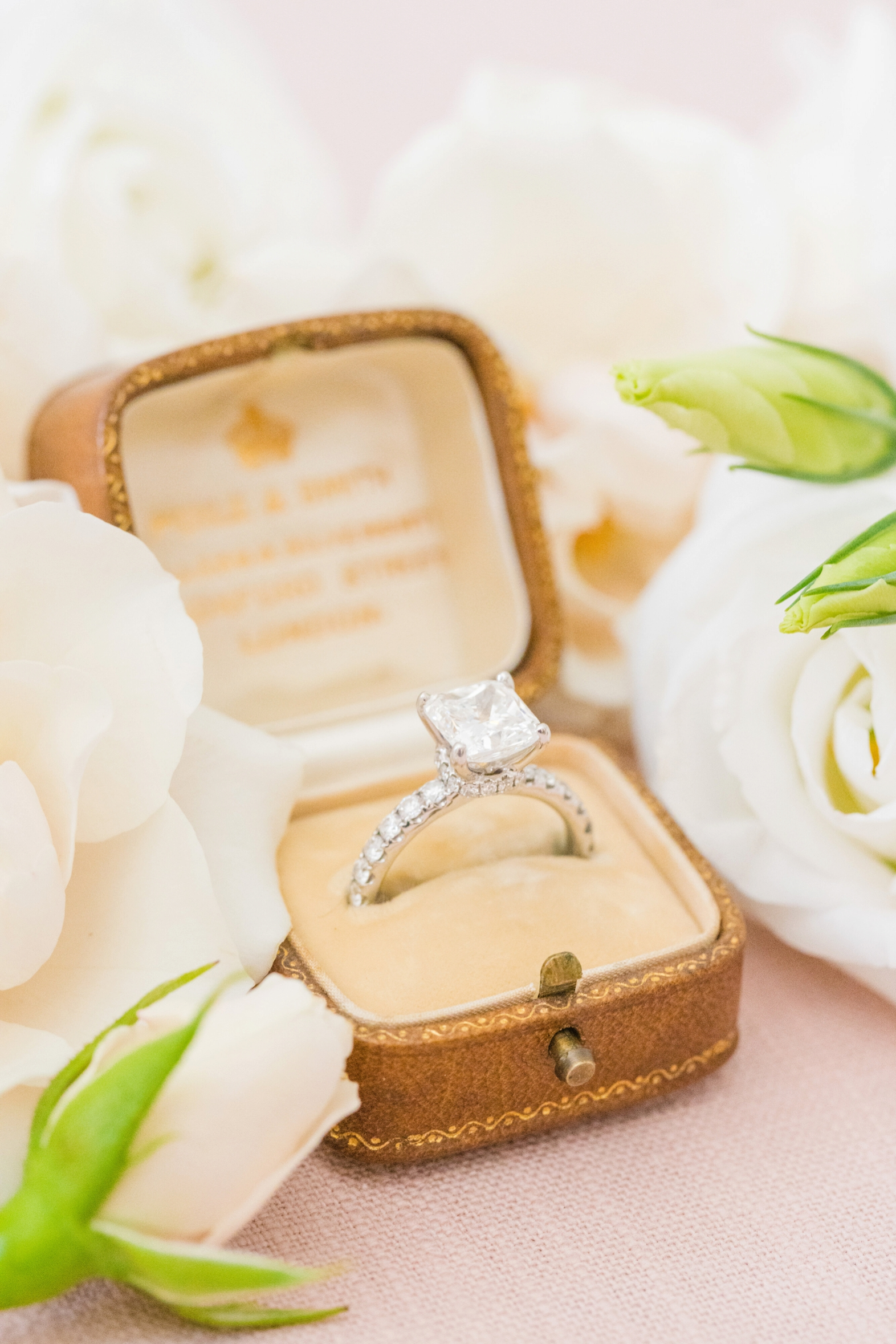 Diamond ring in case  styled shoot with roses - photo by Dana Cubbage Weddings