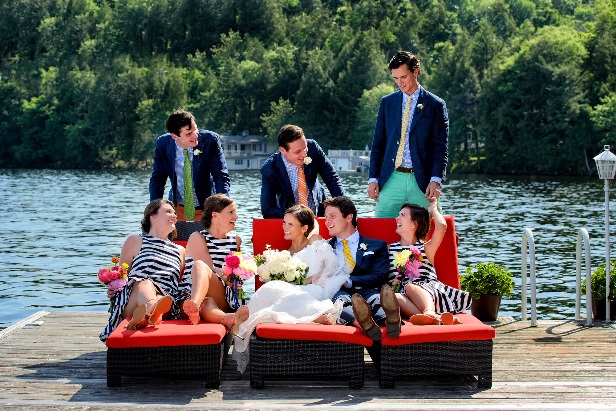 Bridal party b y the lake - photo by Storey Wilkins Photography