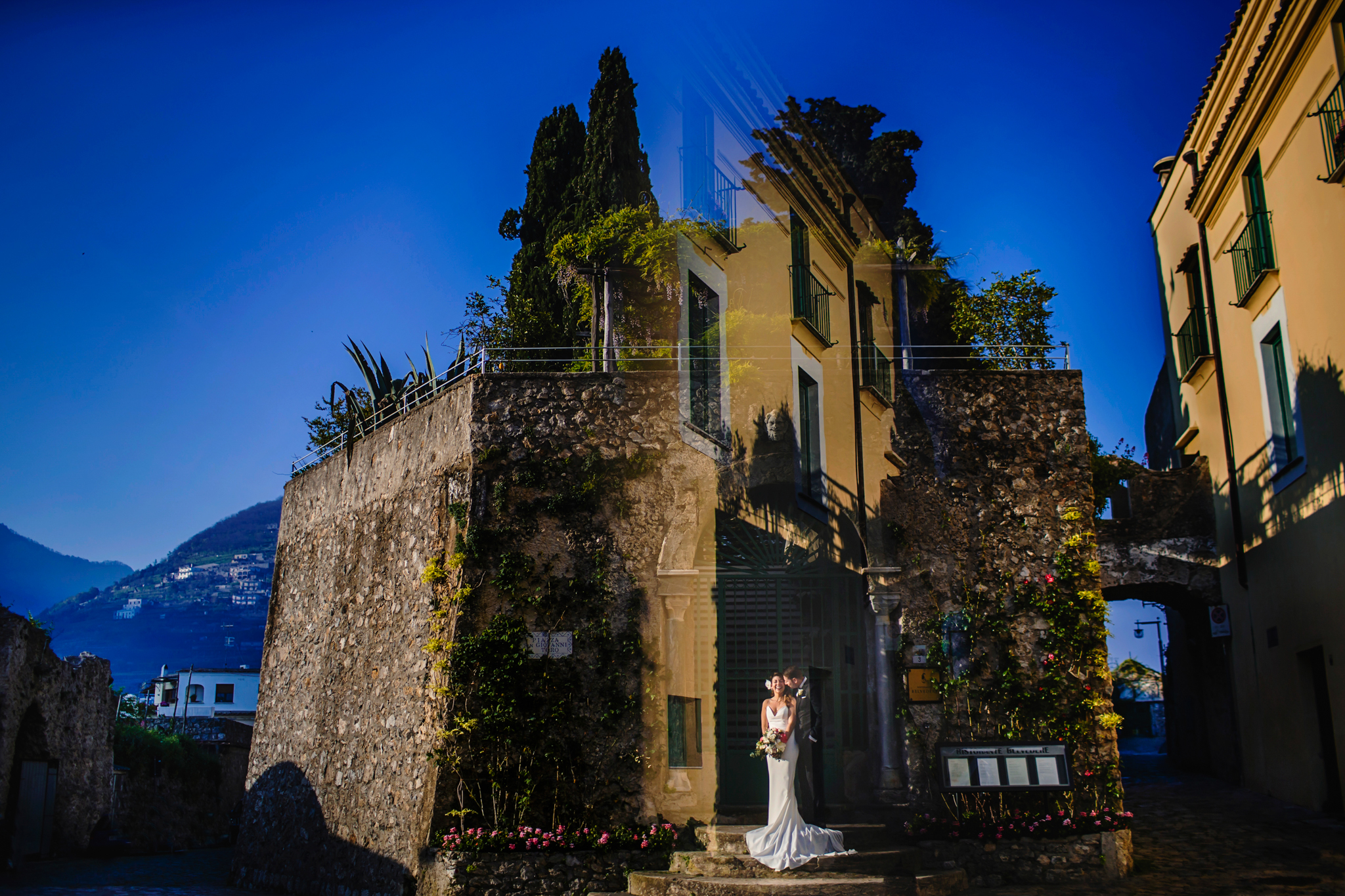 bride and groom portrait in old city location- photo by Chrisman Studios