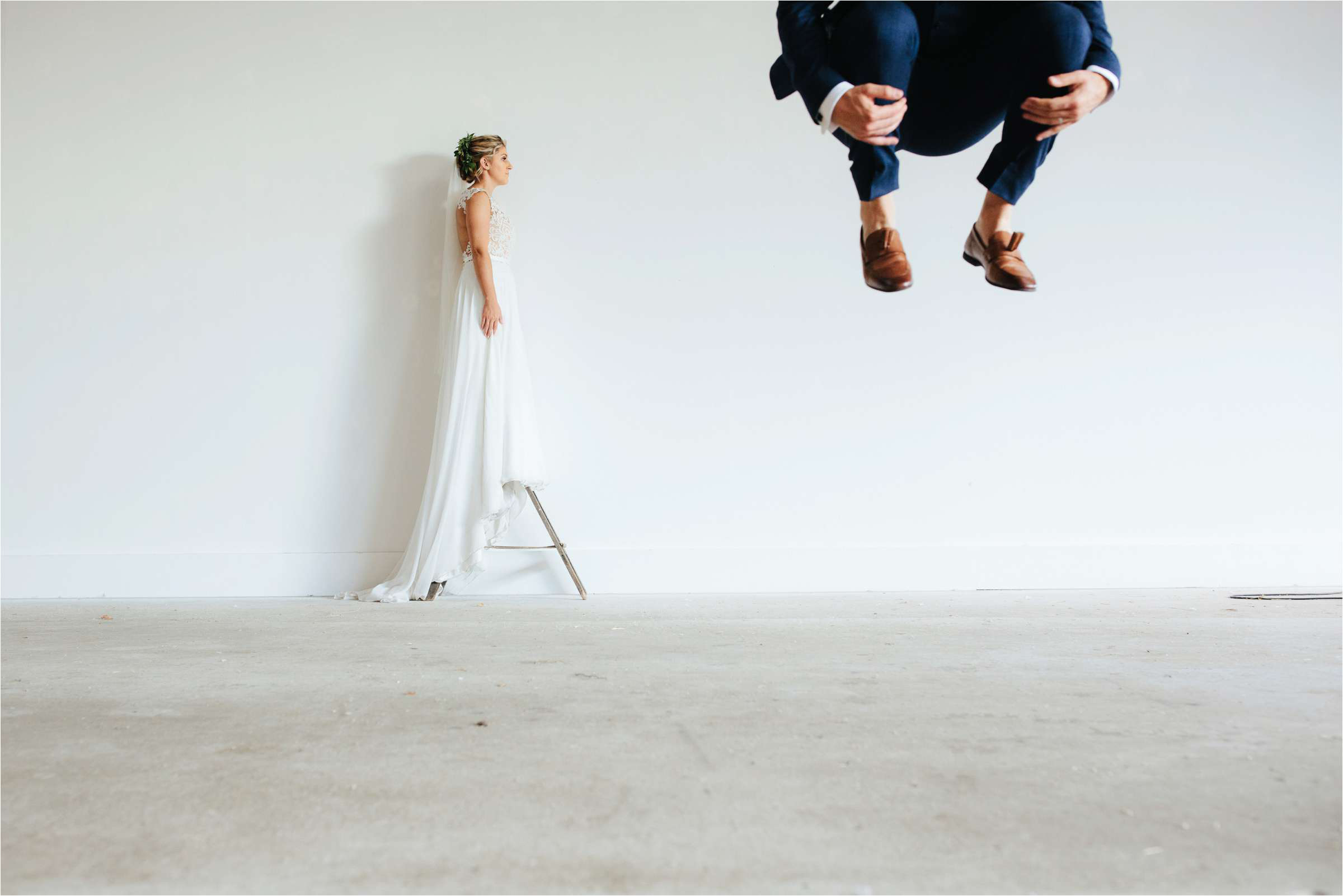 Avant garde composition of bride and groom - photo by The Crawleys