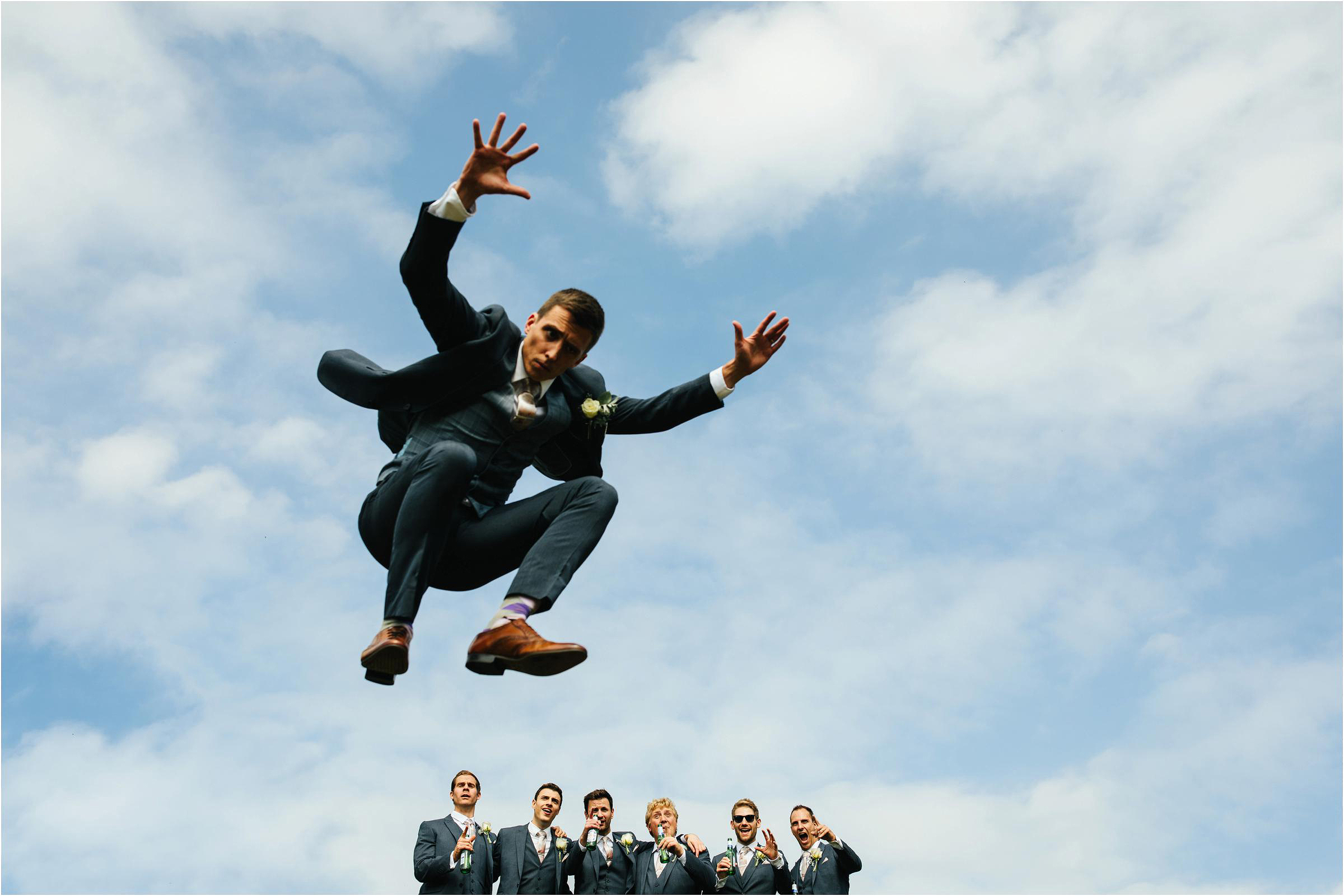 One groom a leaping - photo by The Crawleys