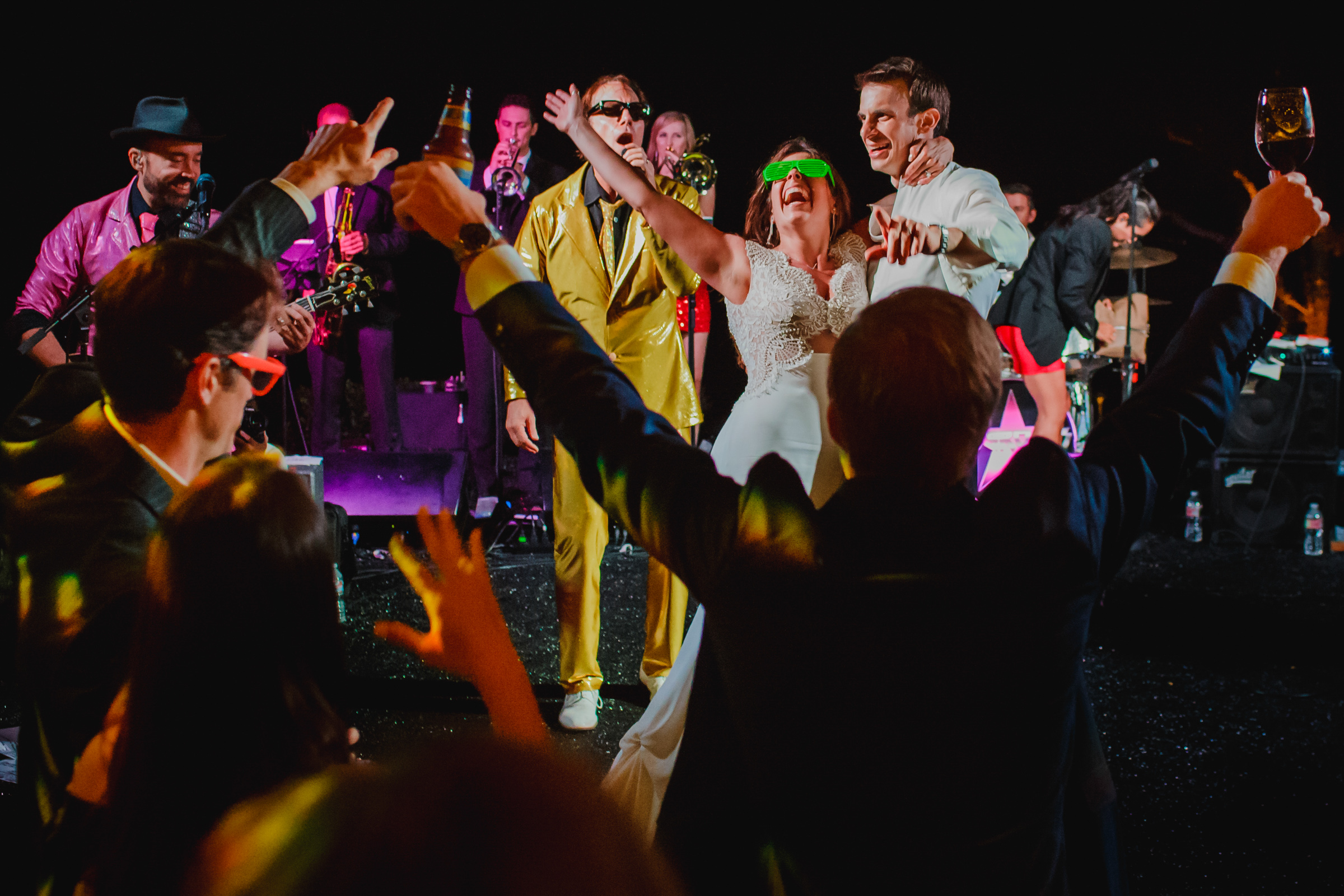 Bride in crazy glasses at dance party- photo by Chrisman Studios