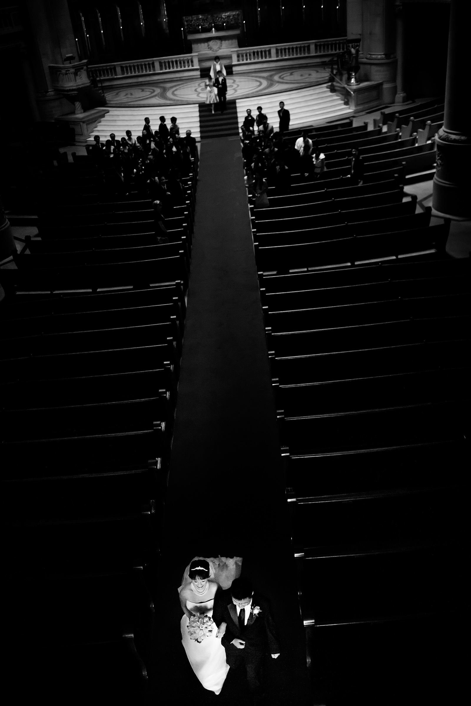 creative balcony view of ceremony recessional - photo by Chrisman Studios