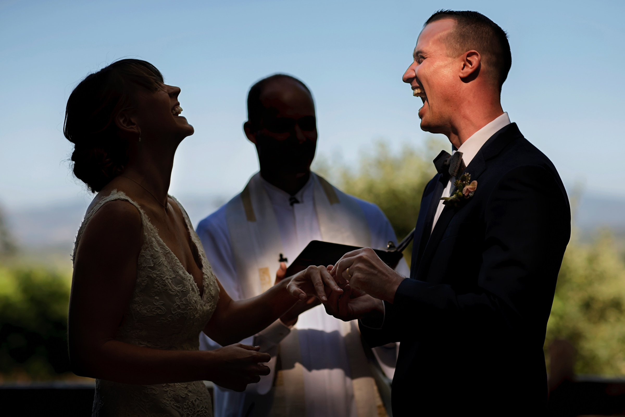 Laughter at ceremony - photo by Chrisman Studios