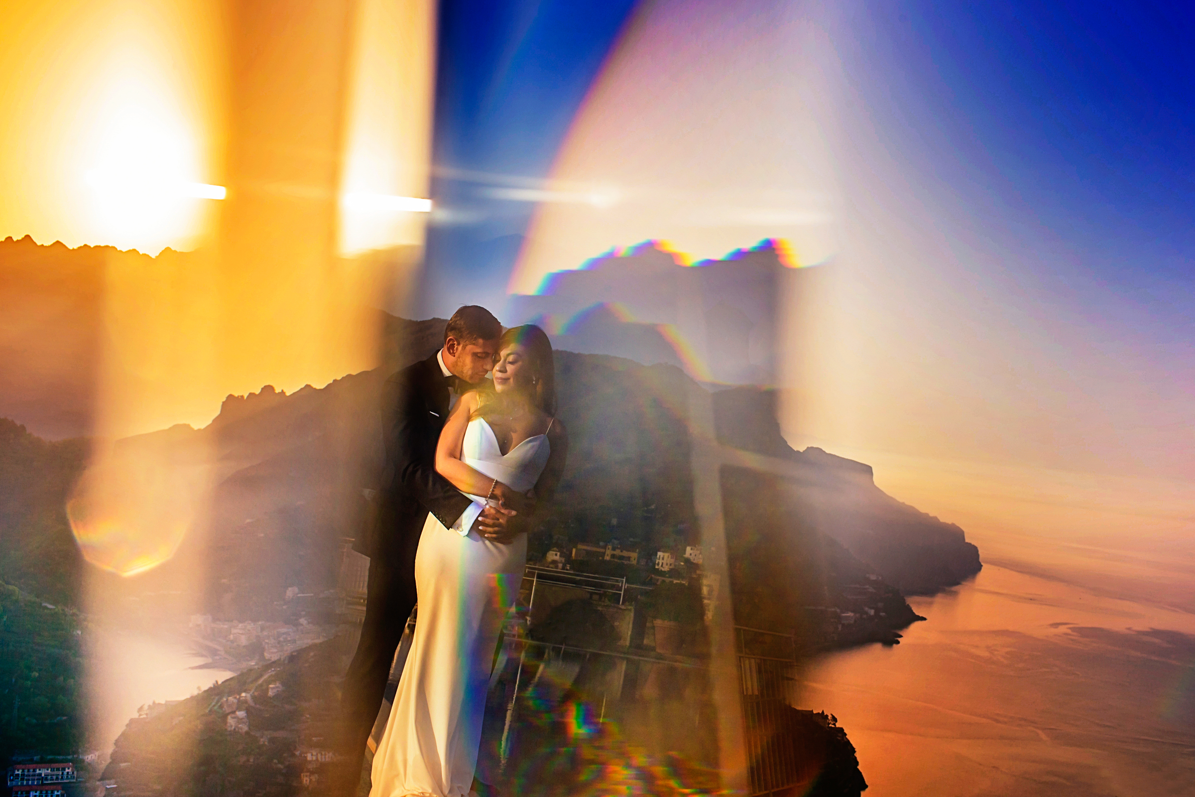Portrait of bride and groom with interesting light artifacts - photo by Chrisman Studios