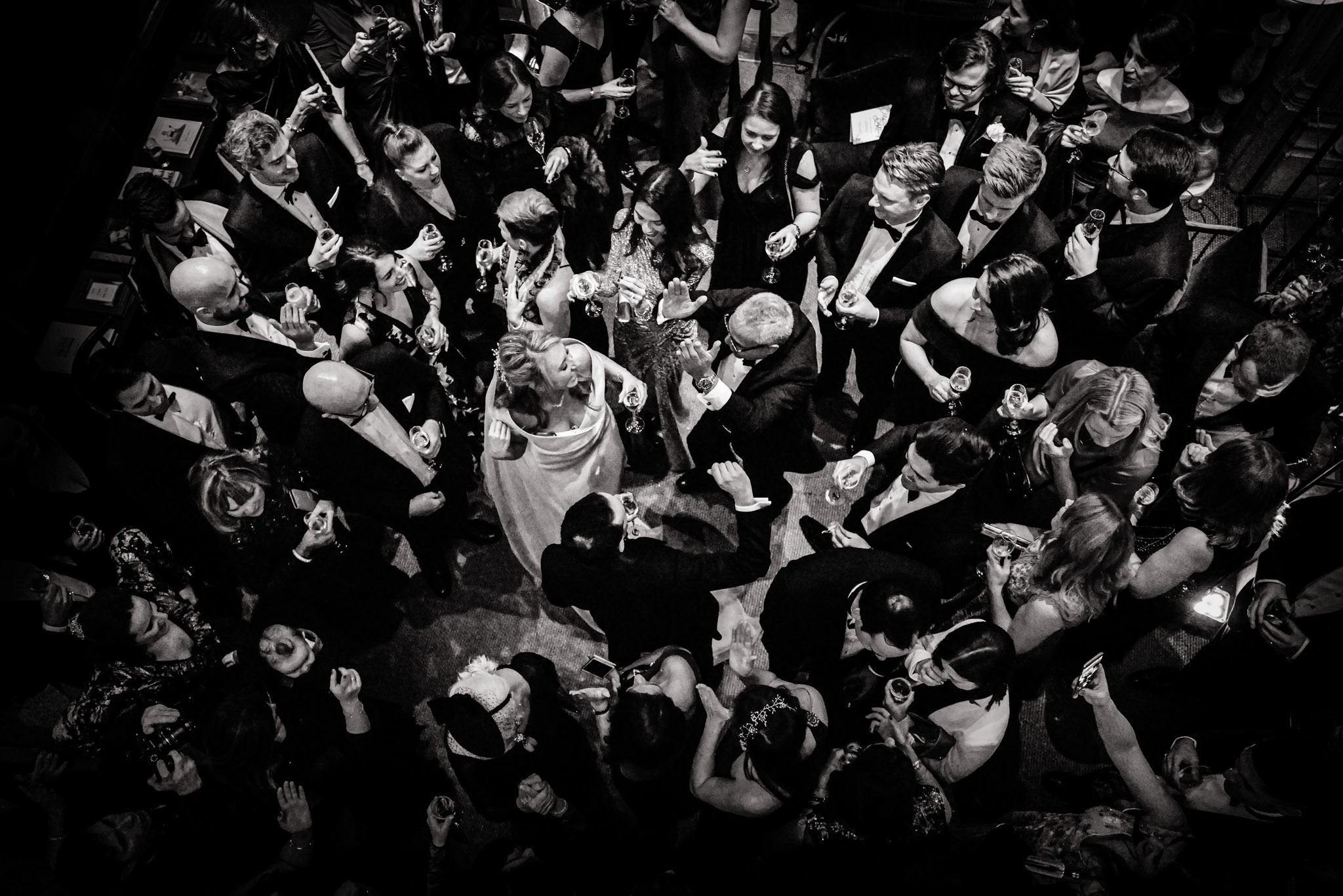 Bride and groom dancing with guests - photo by Andrew Billington Photography