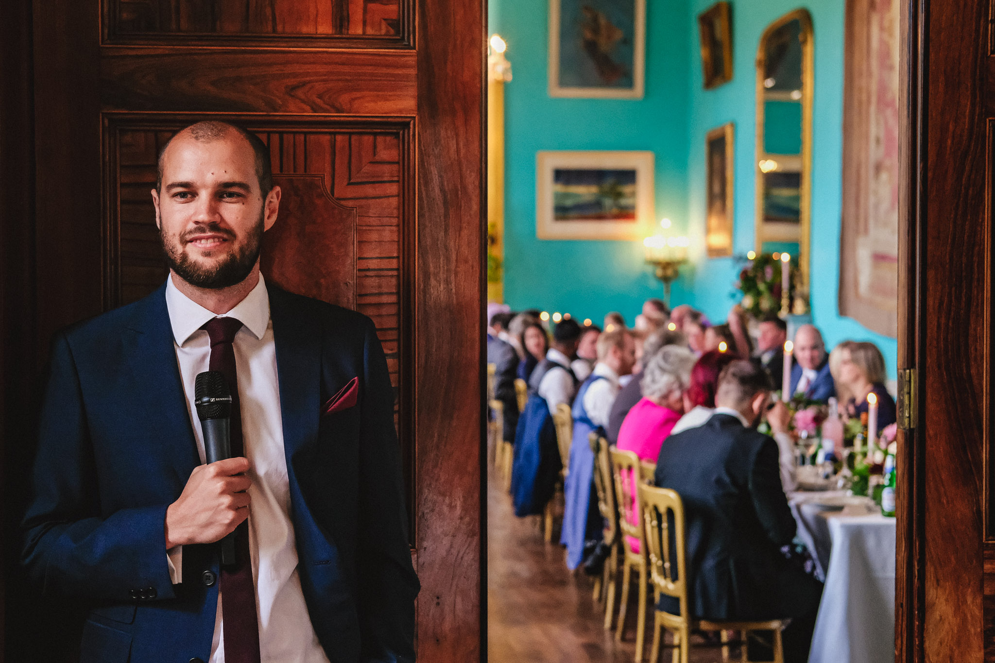 Guest waits outside room to make his  toast - photo by Andrew Billington Photography