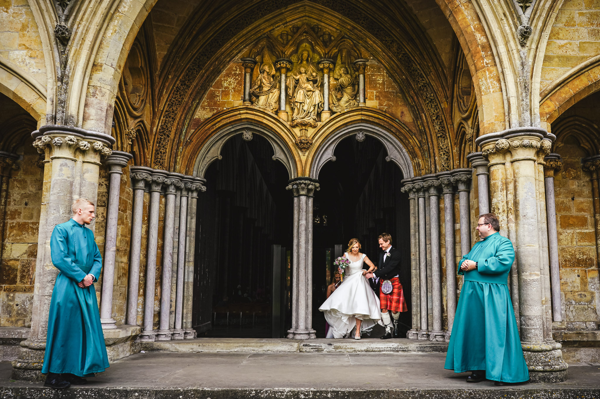 Scottish bride and groom exiting church - photo by Andrew Billington Photography