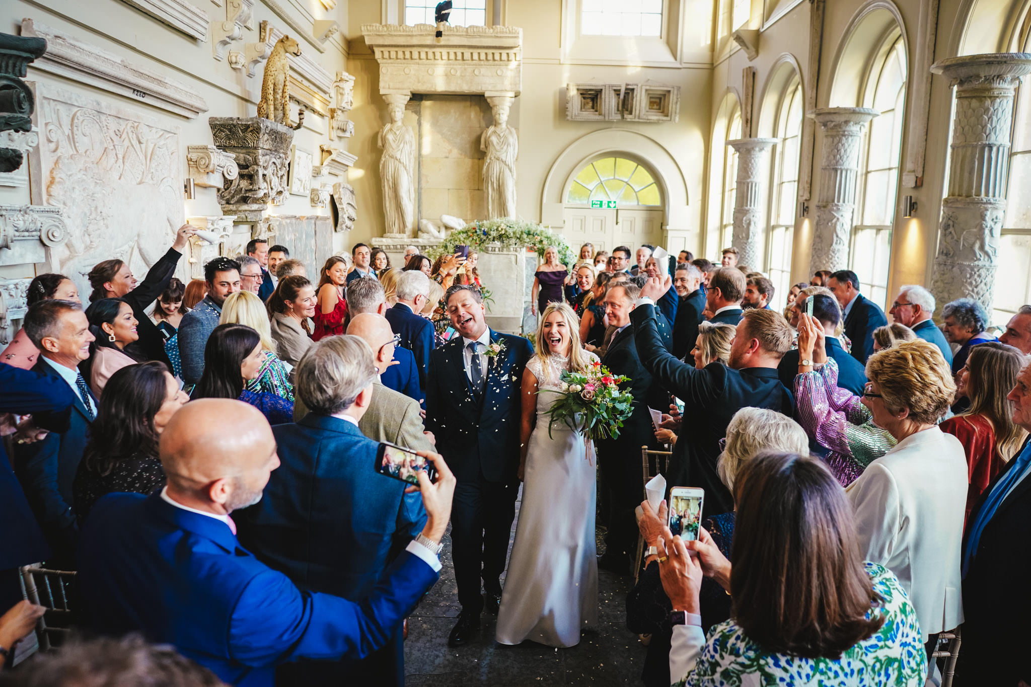 Couple recessional at Aynhoe Park- photo by Andrew Billington Photography