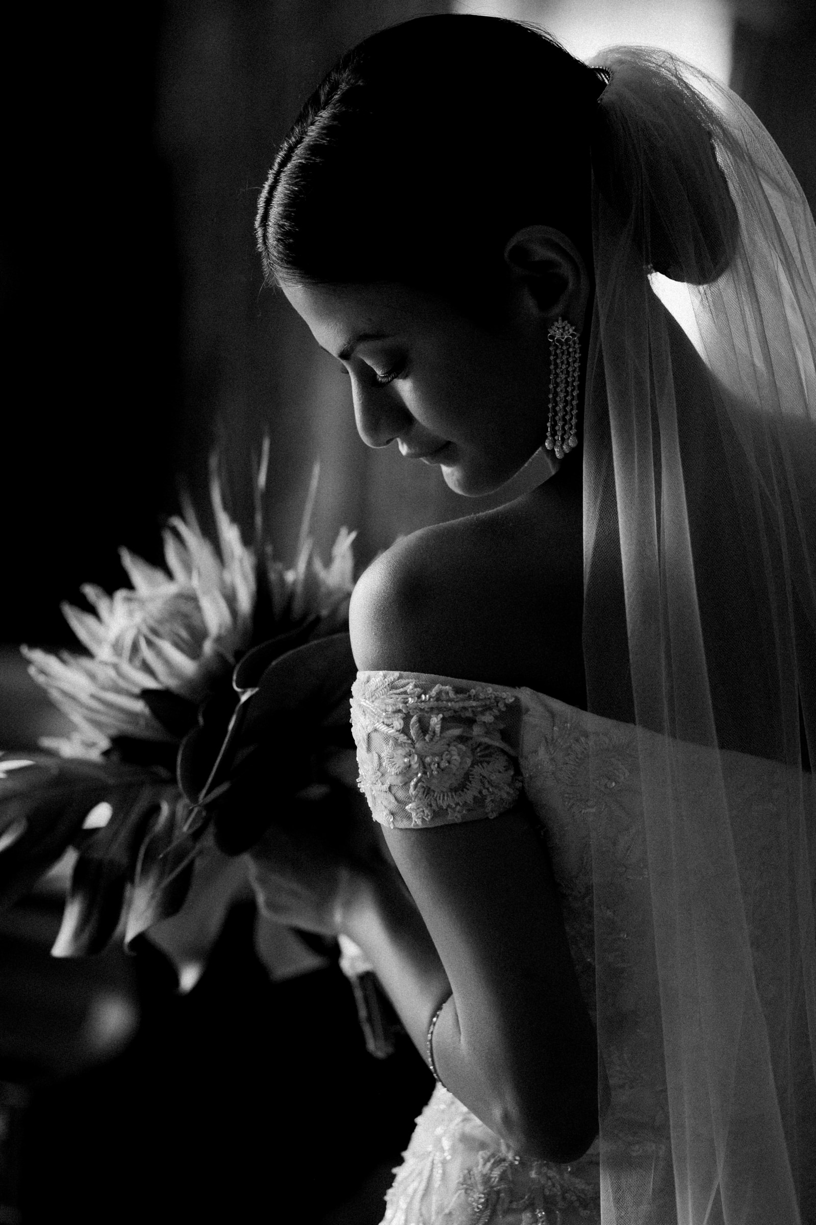 black and white bridal portrait-new orleans-austin-houston-wedding- photo by Dark Roux