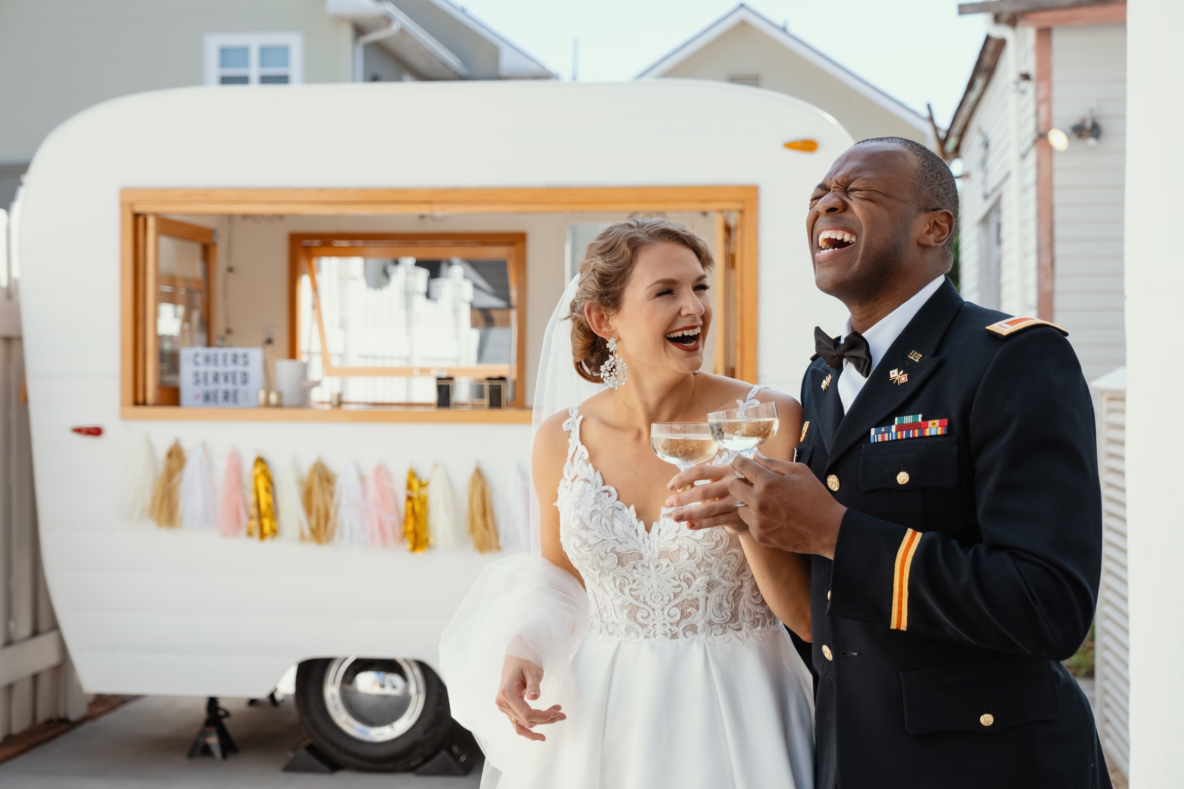 bride and groom toast by the food truck-new orleans-austin-houston-wedding- photo by Dark Roux