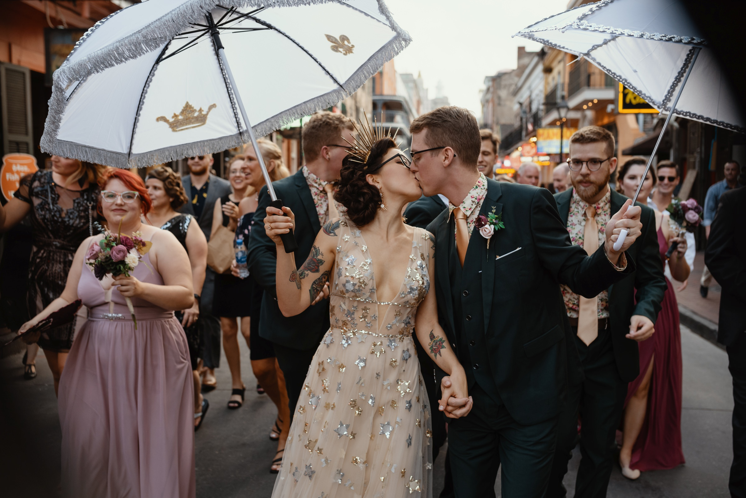 bride and groom wedding parade in new orleans-new orleans-austin-houston-wedding photographer - photo by Dark Roux