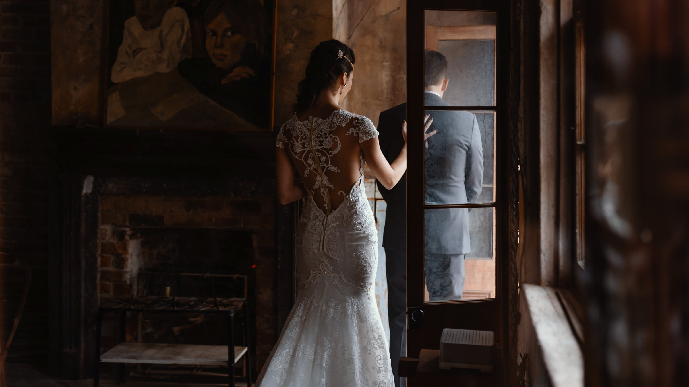 bride walking up to groom for first look-new orleans-austin-houston-wedding photographer- photo by Dark Roux