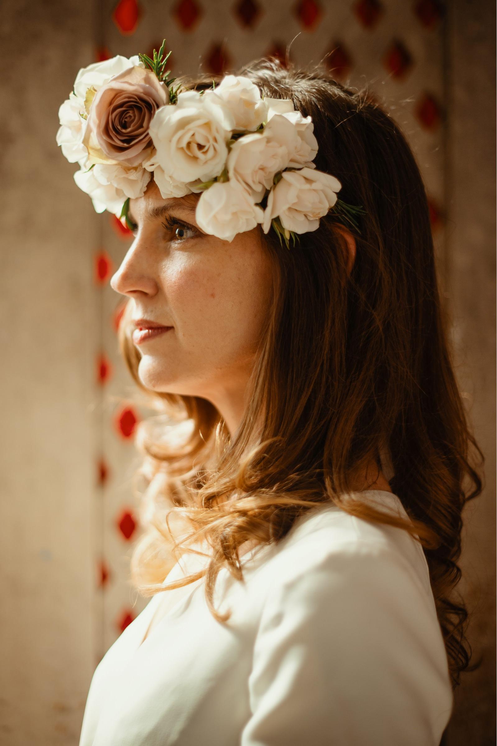 bride with floral hair piece portrait-new orleans-austin-houston - photo by Dark Roux
