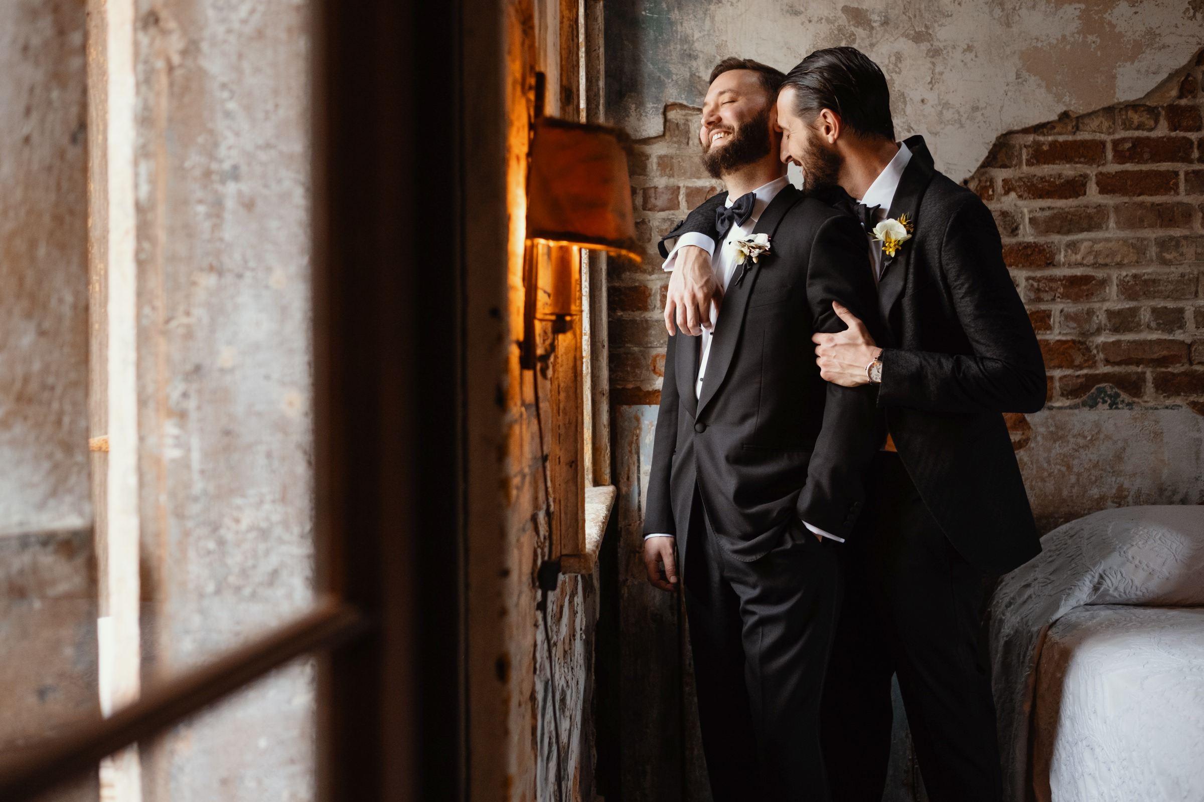 groom and groom sweet moment portrait-new orleans-austin-houston- photo by Dark Roux
