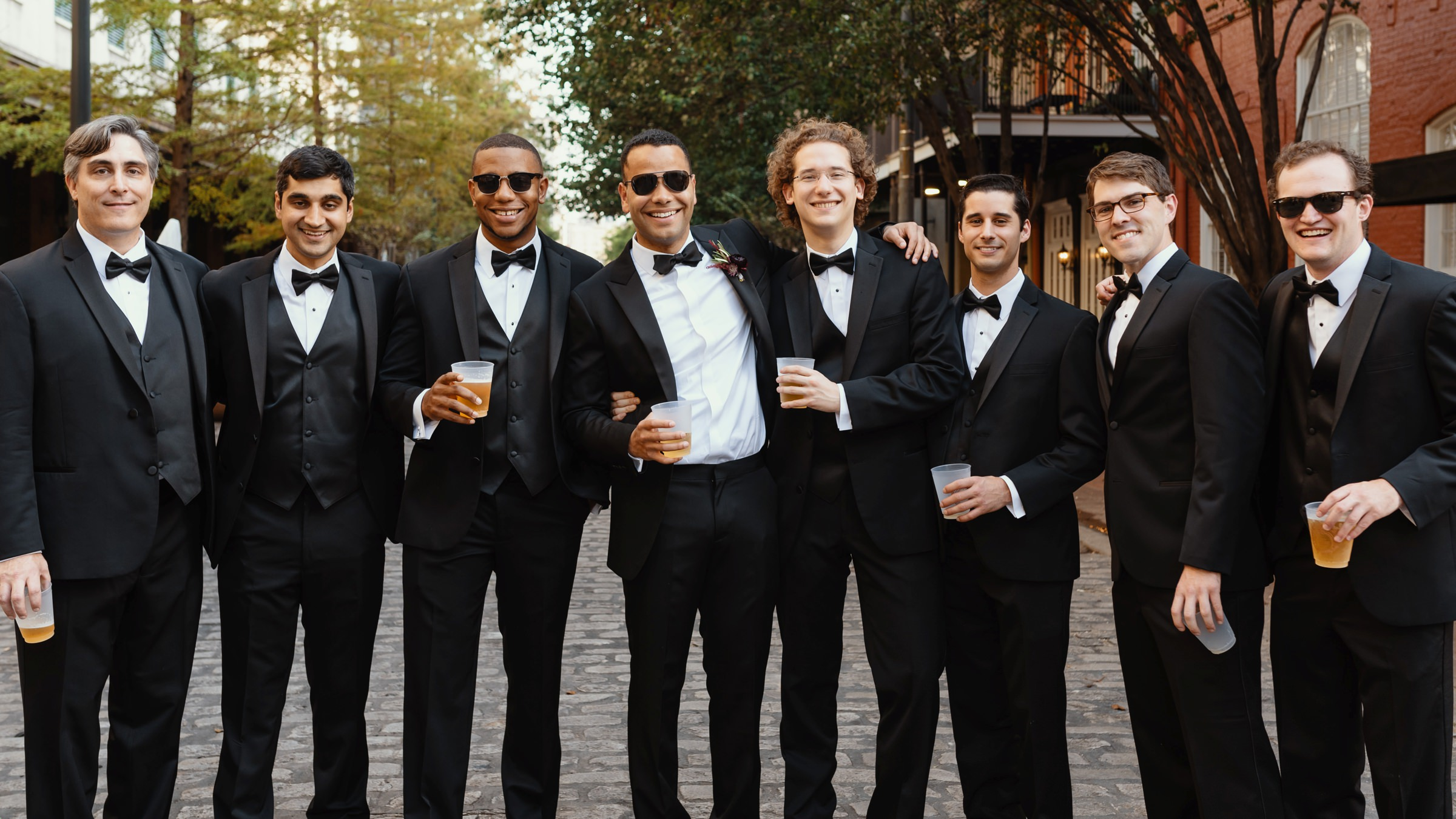 New Orleans groom with groomsmen - photo by Dark Roux