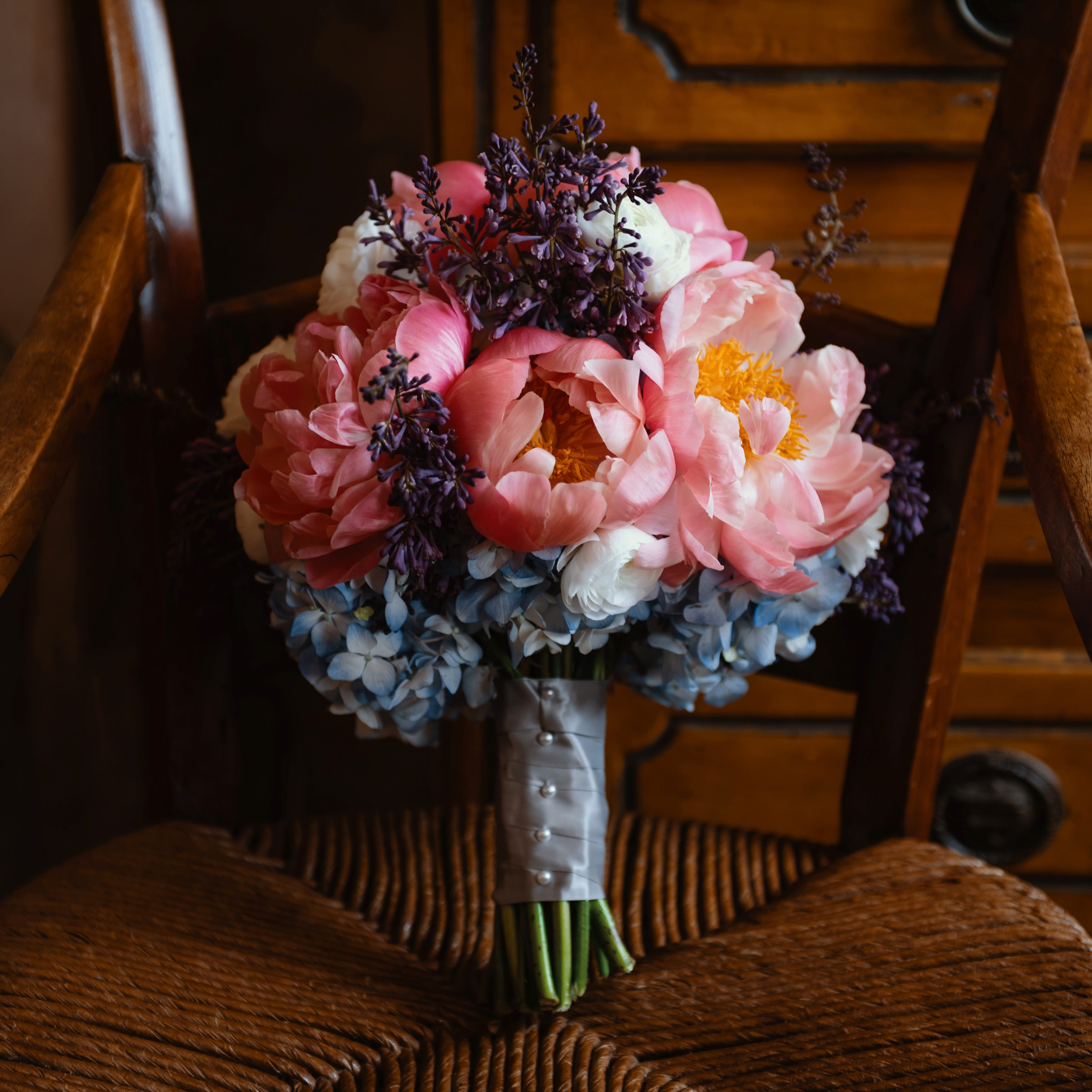 pink and salmon peonies and hydrangeas bouquet - photo by Dark Roux