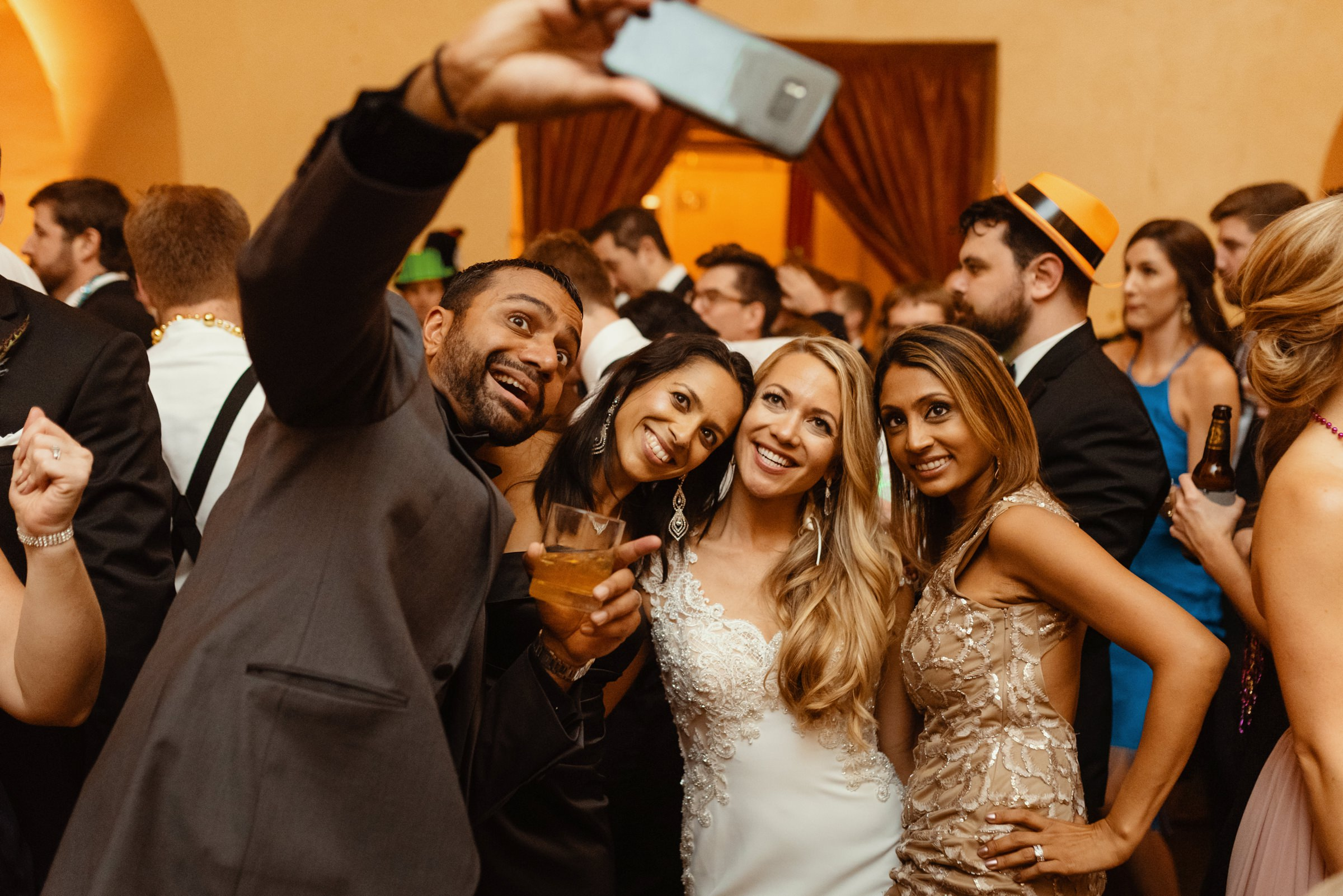 Selfie with bride and sultry guests - photo by Dark Roux