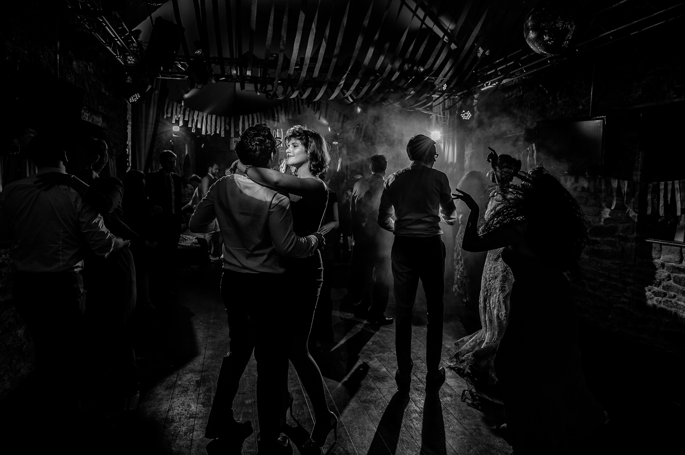 Dance party in smoke filled room - photo by Gaelle Le Berre Photography