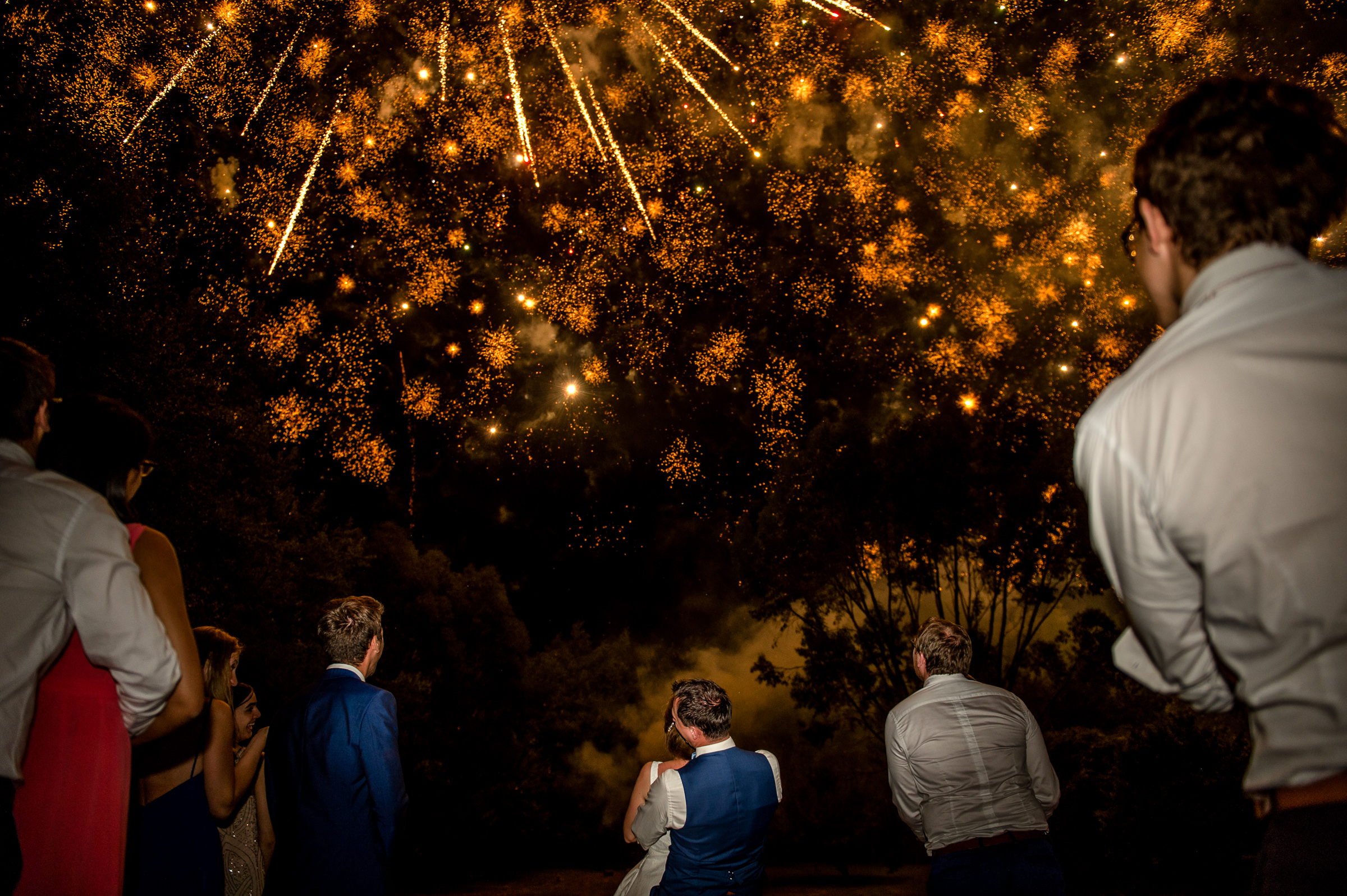 Wedding fireworks light up the sky - photo by Gaelle Le Berre Photography