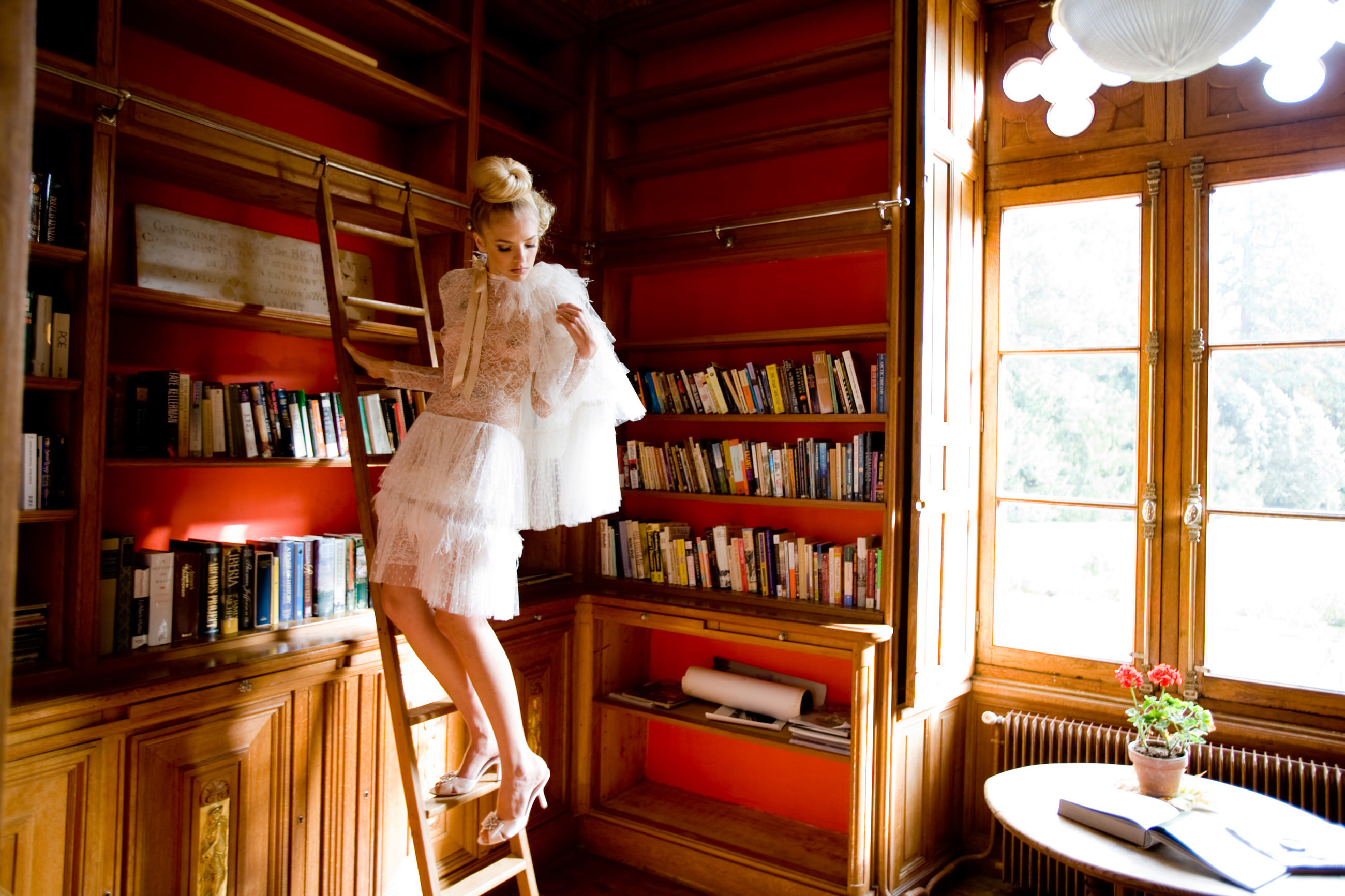 bride on library ladder - photo by La Vie Photography
