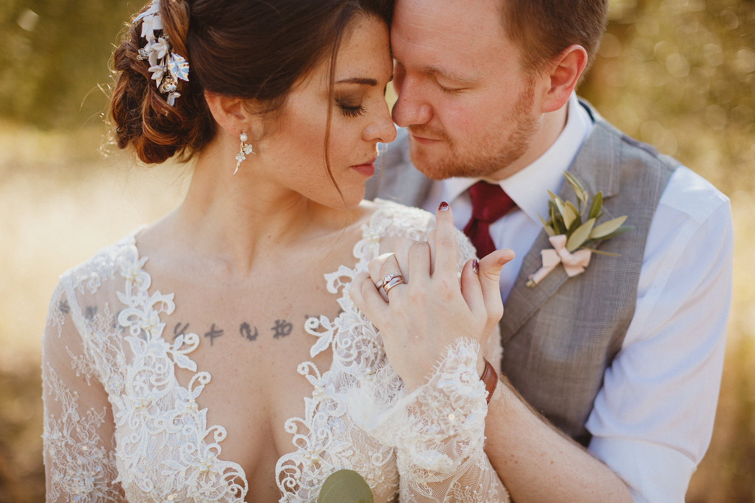 Outdoor couple embrace - photo by Ed Peers Photography
