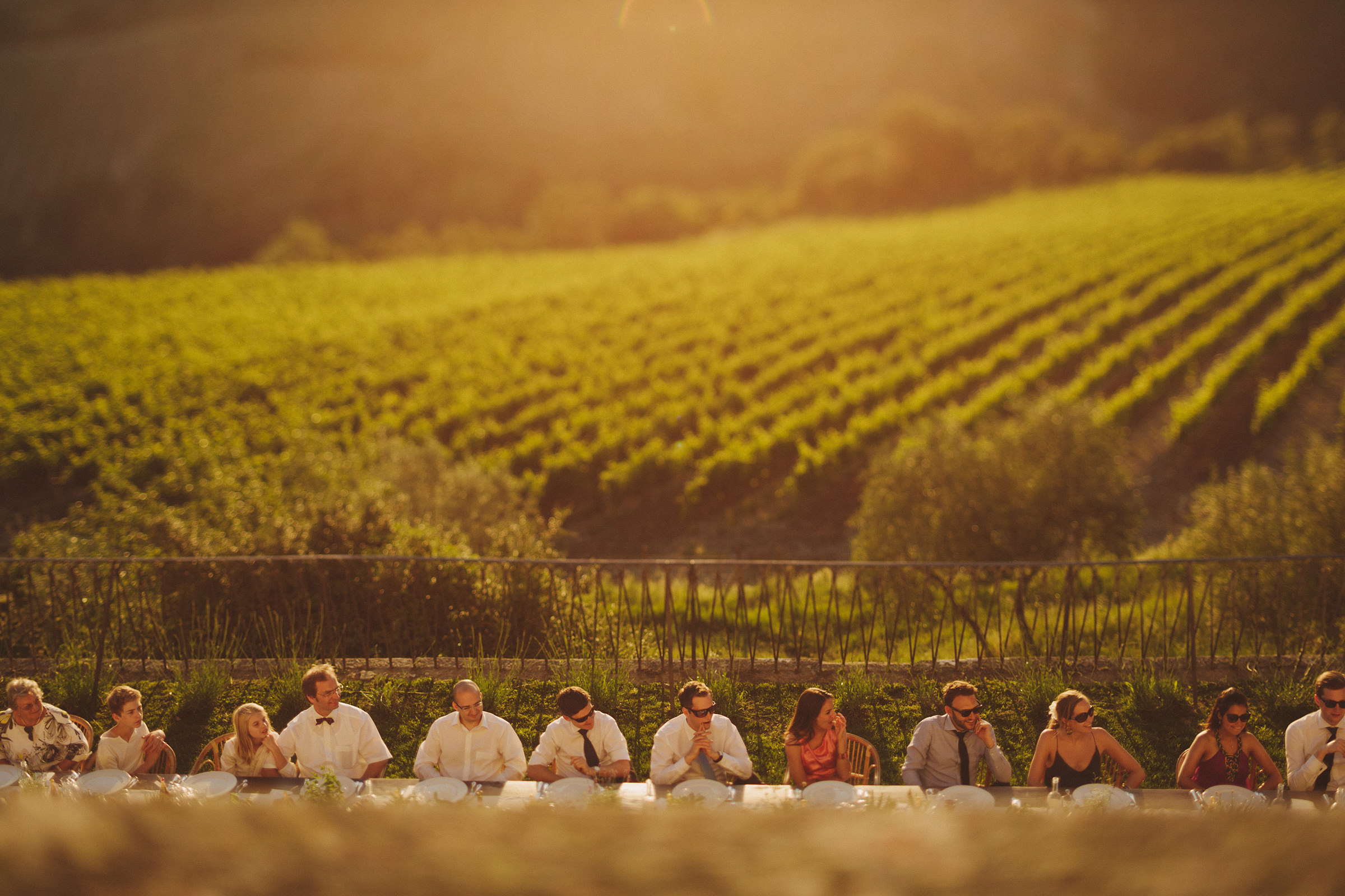 Outdoor reception diners against-vineyard - photo by Ed Peers Photography