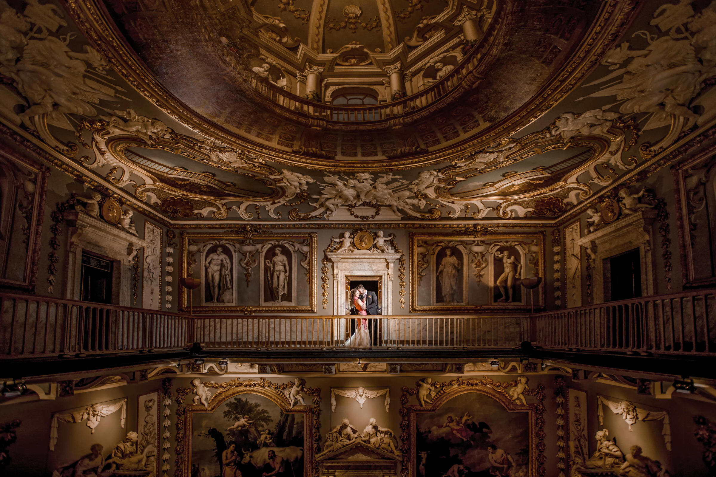 couple portrait in highly ornate interior setting - photo by Eye Jogia Photography