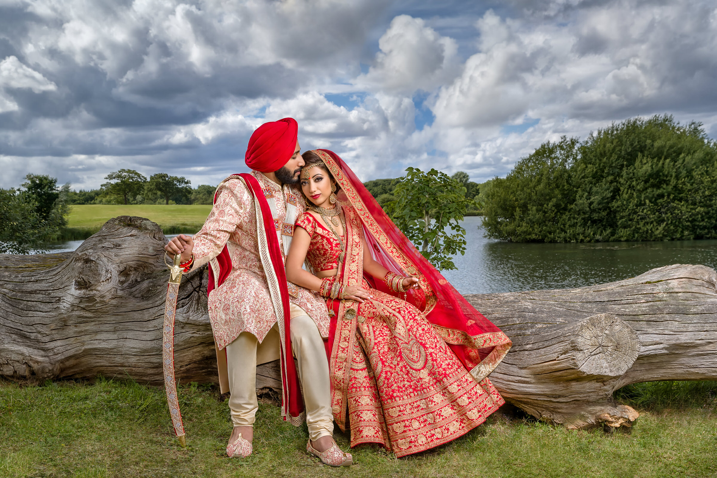 Indian couple in classical landscape setting - photo by Eye Jogia Photography